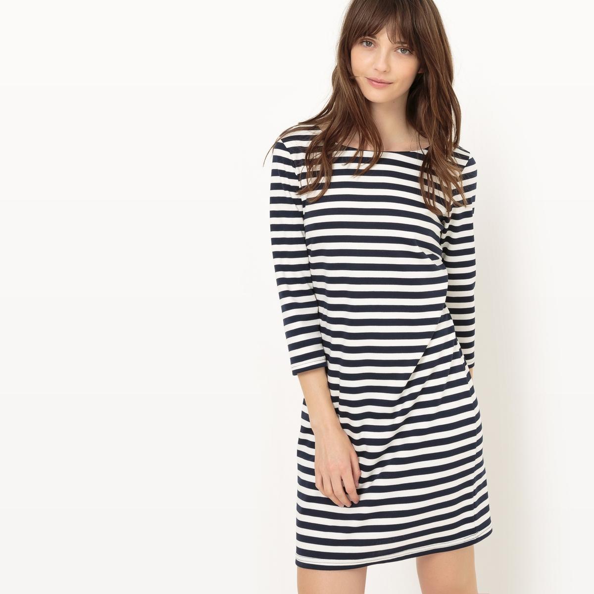 Платье длиной до колен, рукава 3/4, в полоскуМатериал : 18% вискозы, 3% эластана, 79% полиэстера  Длина рукава : рукава 3/4  Форма воротника : круглый вырез Покрой платья : платье прямого покроя   Рисунок : в полоску   Длина платья : до колен<br><br>Цвет: в полоску белый/темно-синий<br>Размер: M