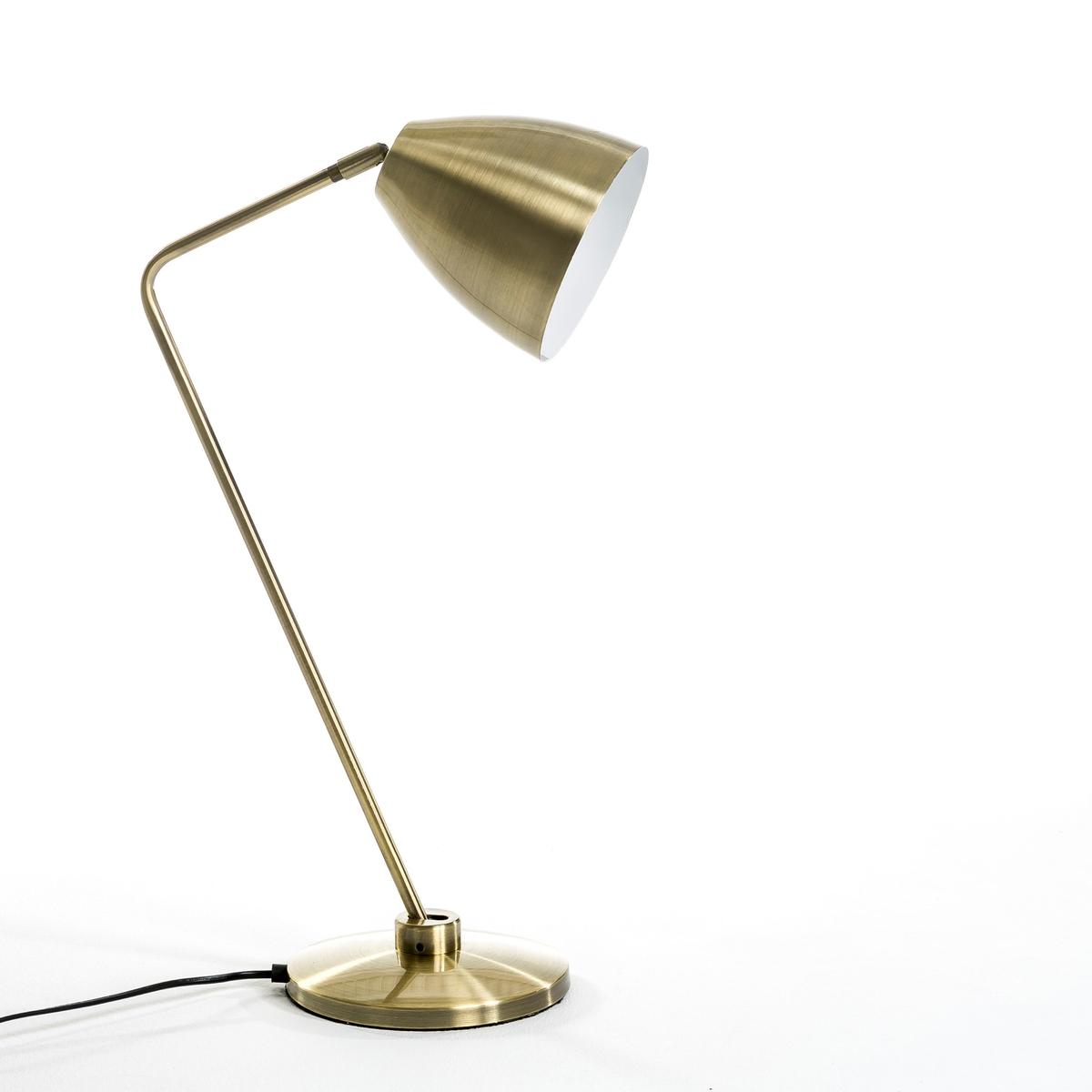 Лампа настольная, TashaЛампа настольная, Tasha . Эта декоративная настольная лампа в духе 60-х снабжена отражателем и стержнем на шаровых шарнирах для направленного освещения .Характеристики :- Патрон E27 для флюокомпактной лампочки макс 11W (не входит в комплект)  . - Этот светильник совместим с лампочками    энергетического класса   A .    - Этот товар может подойти для спальни ребенка старше 14 лет в зависимости от действующих требований  .Размеры :- Выс 54,5 см .- ? низа 19 см .<br><br>Цвет: латунь