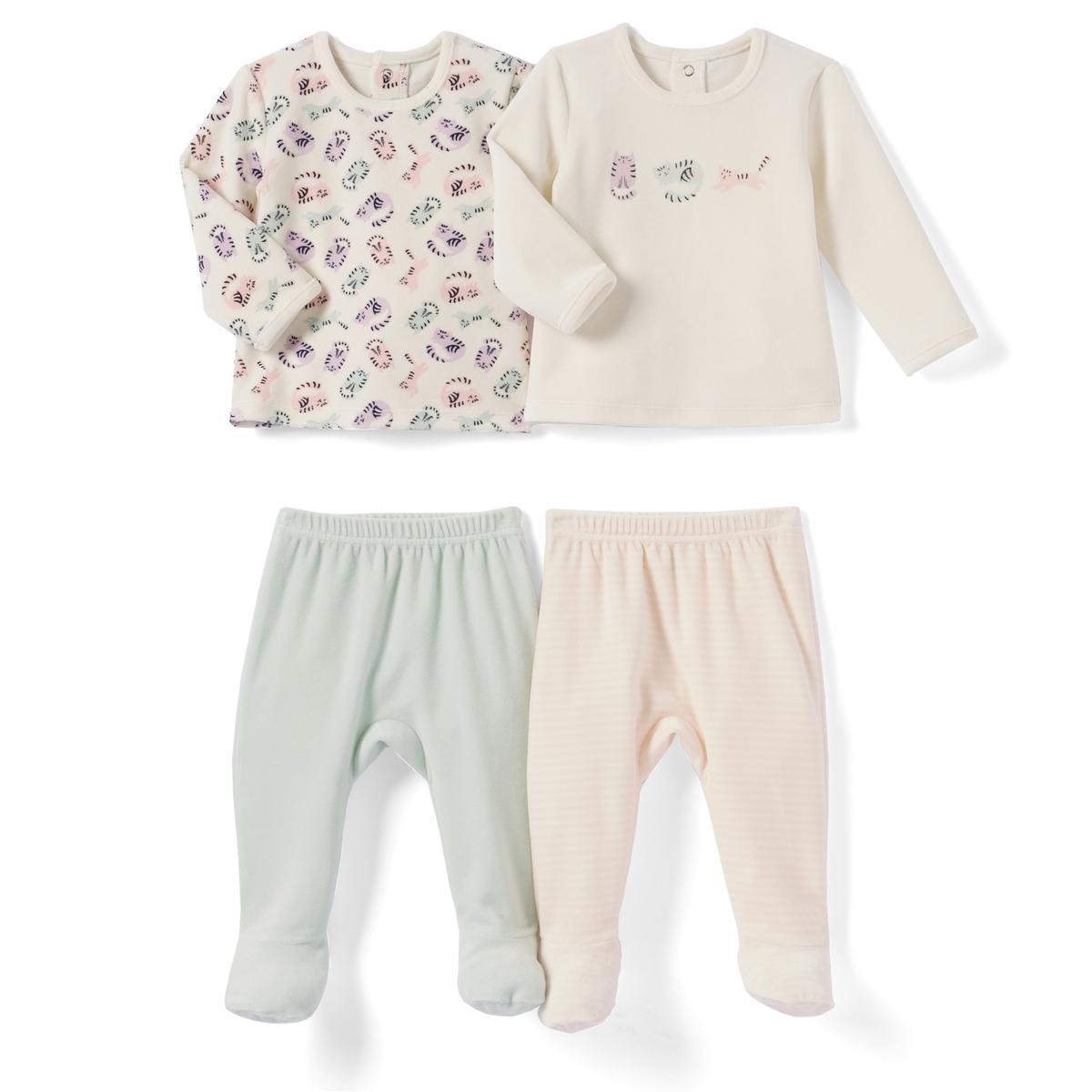 2 пижамы из 2 предметов из велюра, 0 мес. - 3 годаПижама из 2 предметов из велюра. В комплекте 2 пижамы : 1 пижама с футболкой с длинными рукавами и рисунком кошка + 1 однотонные брюки. 1 пижама с футболкой с длинными рукавами и рисунком кошка спереди + 1 брюки в полоску. Верх с застежкой на кнопки сзади. Брюки с эластичным поясом. Носочки с противоскользящим эффектом от 12 мес. (74 см) .    Планка застежки на пуговицы для соединения верха и низа. Верх пижамы без этикетки, чтобы не вызывать раздражение или зуд на коже ребенка .Товарный знак Oeko-Tex® . Знак Oeko-Tex® гарантирует, что товары прошли проверку и были изготовлены без применения вредных для здоровья человека веществ.Состав и описание : Материал: велюр, 75% хлопка, 25% полиэстера.Уход :Машинная стирка при 30 °C на умеренном режиме с вещами схожих цветов.Стирать, сушить и гладить с изнаночной стороны.Машинная сушка на умеренном режиме.Гладить при низкой температуре.* Международный знак Oeko-tex гарантирует отсутствие вредных или раздражающих кожу веществ.<br><br>Цвет: розовый + экрю + зеленый<br>Размер: 0 мес. - 50 см.2 года - 86 см.18 мес. - 81 см.9 мес. - 71 см