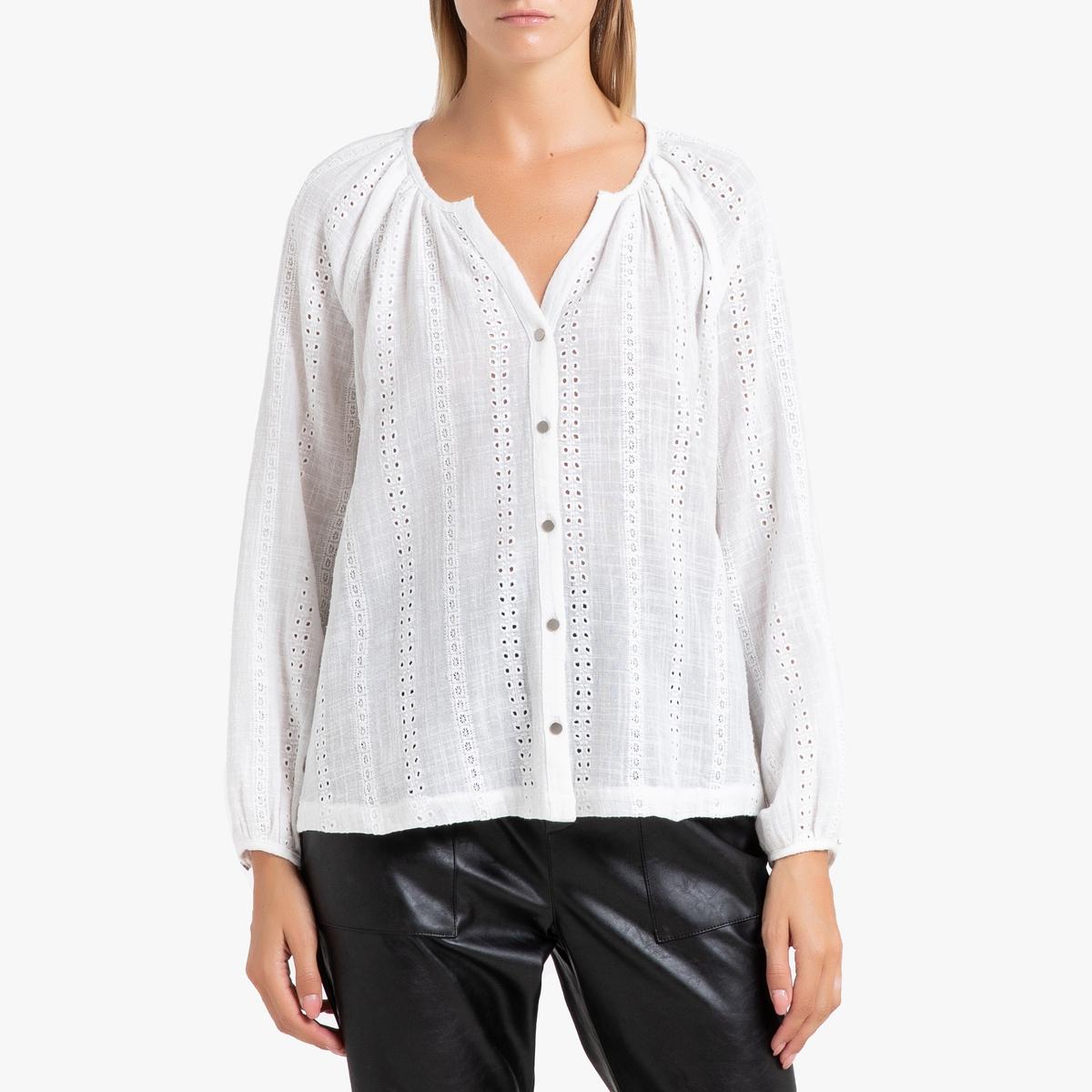 Блузка La Redoute С длинными рукавами и английской вышивкой LEVI 3(L) белый платье с длинными рукавами с вышивкой