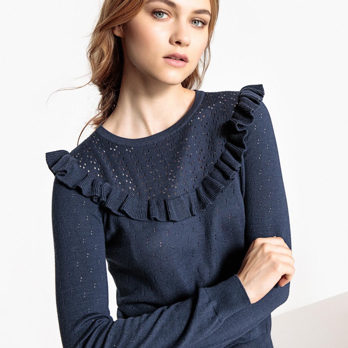 Sweter z okrągłym dekoltem z cienkiej, ażurowej dzianiny, z falbanką