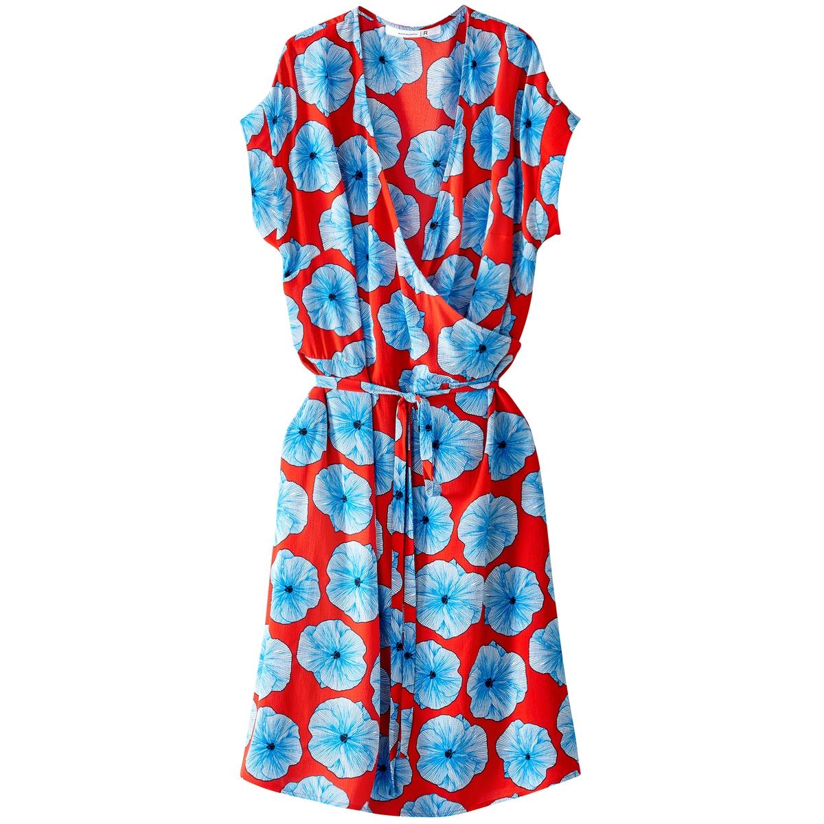 Платье с запахом средней длины, с рисунком