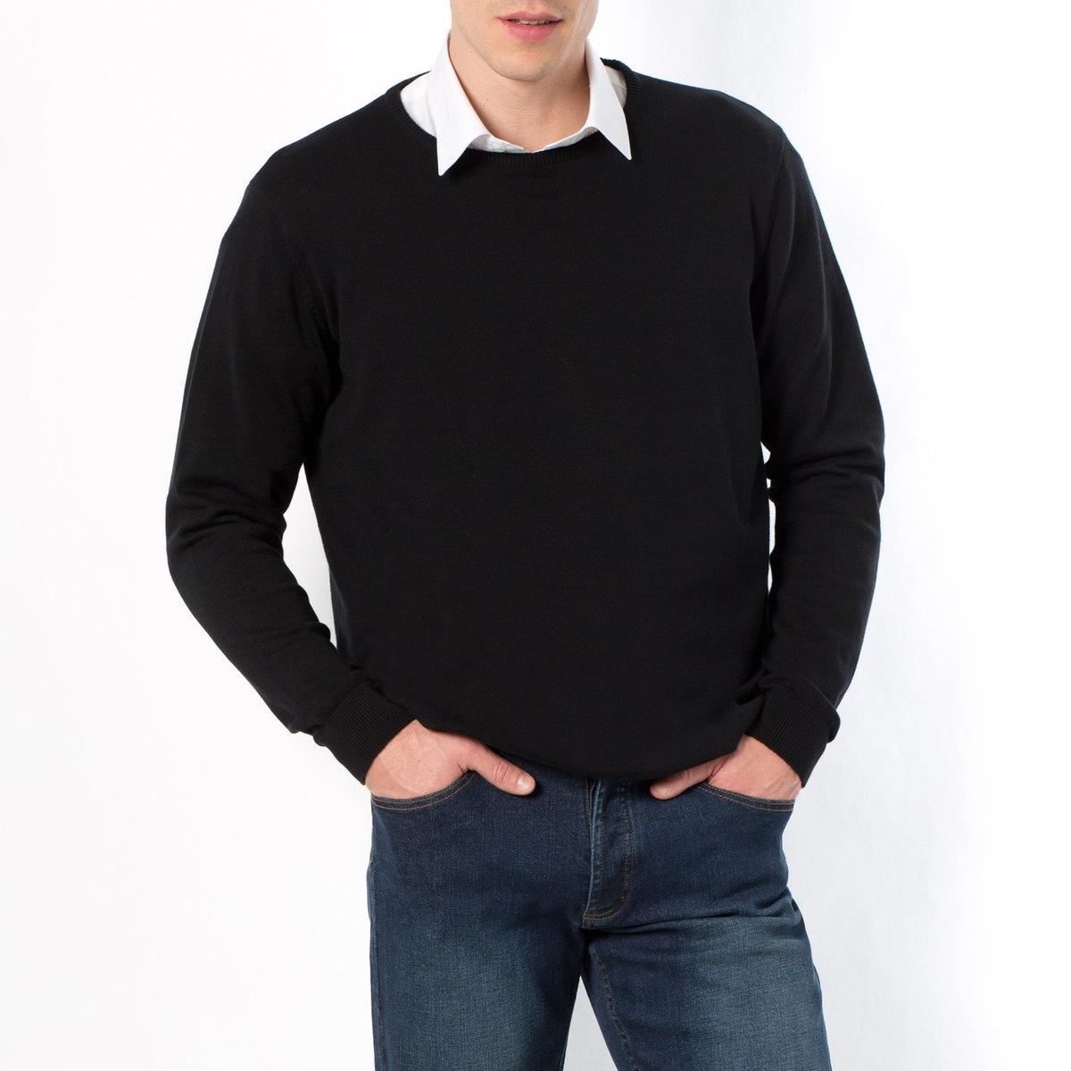Пуловер с круглым вырезомПуловер с круглым вырезом. Длинные рукава. Края рукавов и низа связаны в рубчик. Пуловер с круглым вырезом из трикотажа мелкой вязки, 100% хлопок. - длина спереди : 73 см для размера 50/52 и 81 см для размера 82/84.- длина рукавов : 64,5 см.<br><br>Цвет: бордовый меланж,темно-синий,черный<br>Размер: 66/68.70/72.54/56.82/84