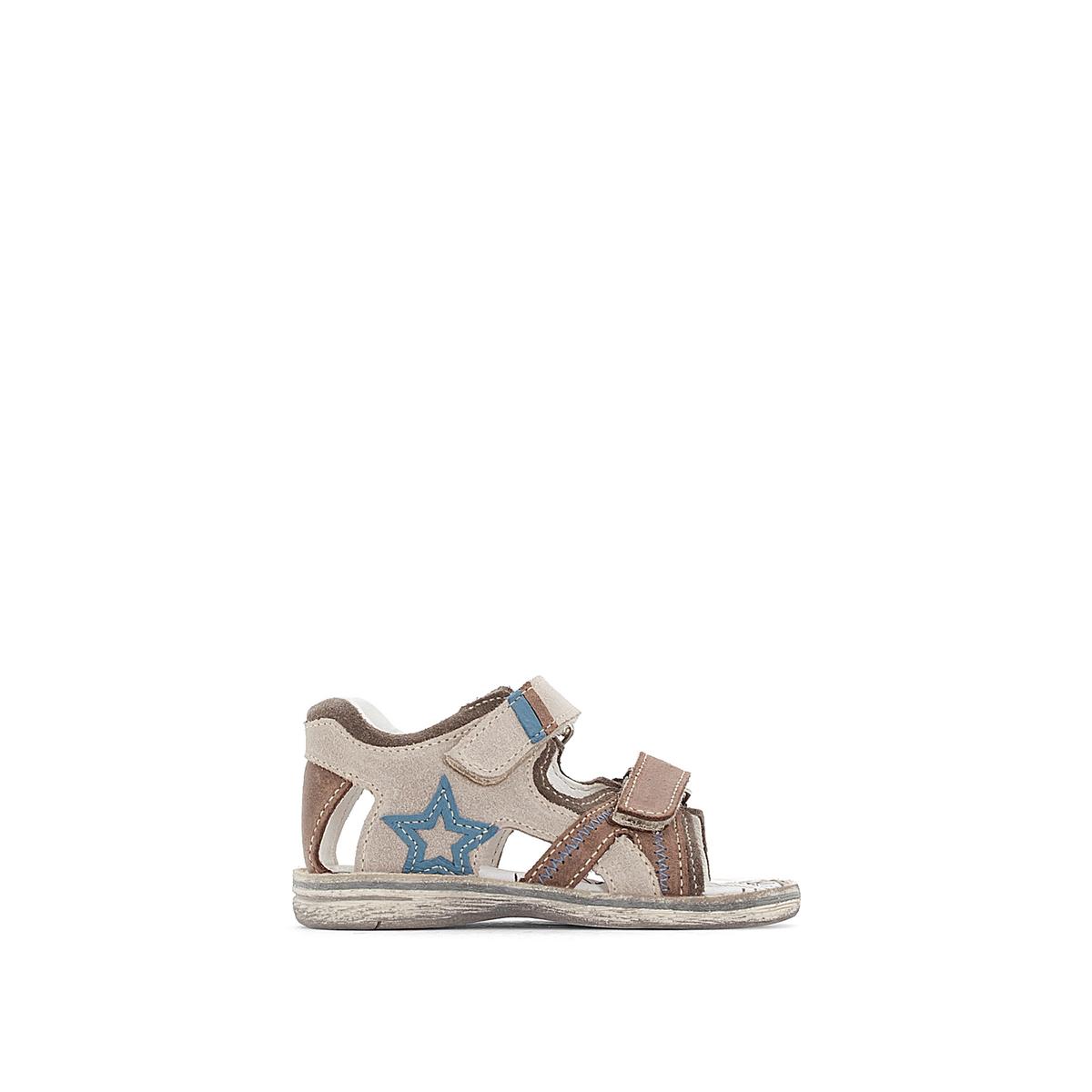 Sandálias em pele com presilha autoaderente BELLIOT