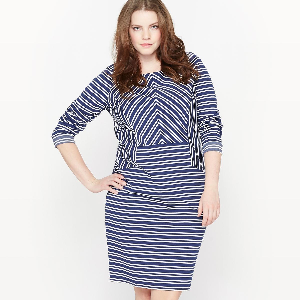 Платье с длинными рукавами CASTALUNA. Цвет: в полоску темно-синий/экрю