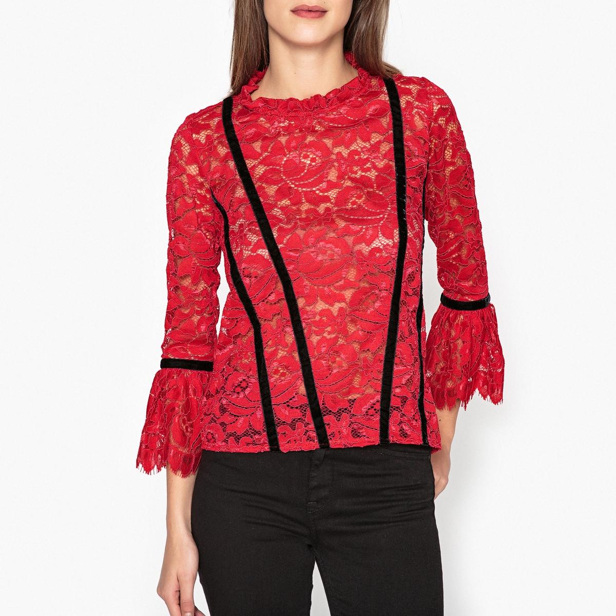 Блузка с кружевом и воланами MIGI