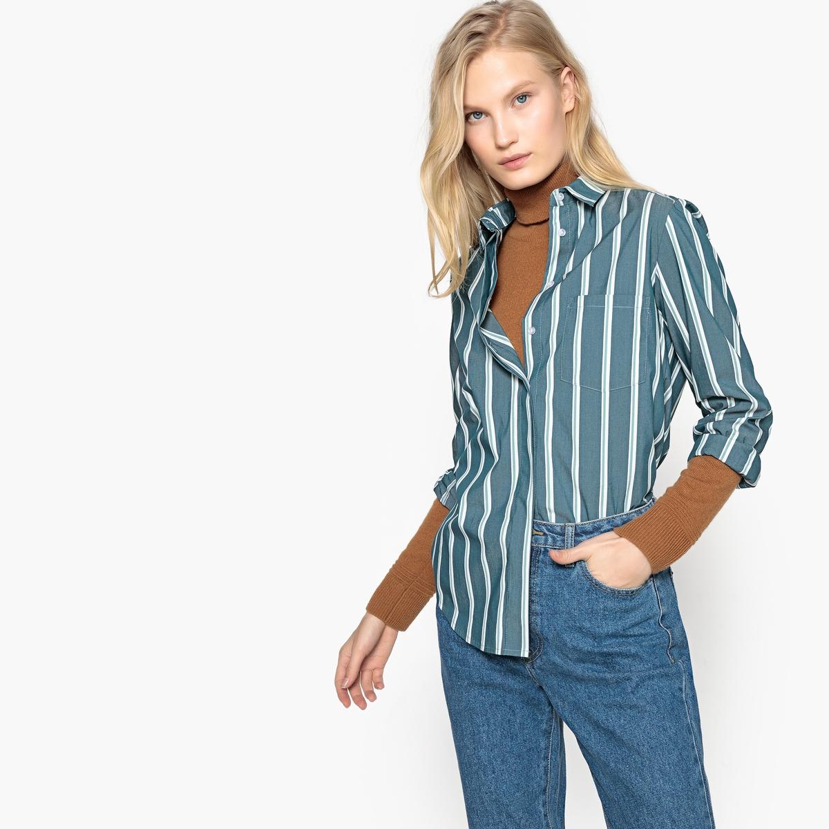 Camisa de manga larga a rayas, con corte recto