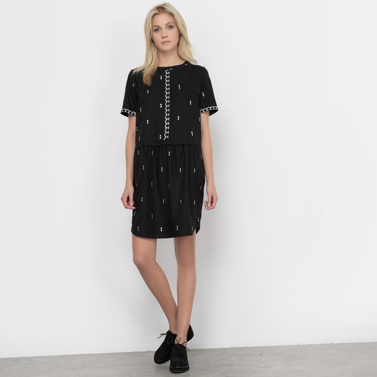 Фото Платье короткое с короткими рукавами с вышивкой ROMARIN ROMARIN. Купить с доставкой