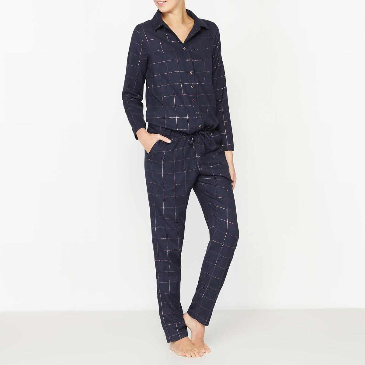 Пижама-комбинезон из хлопка в клетку с металлизированной нитью