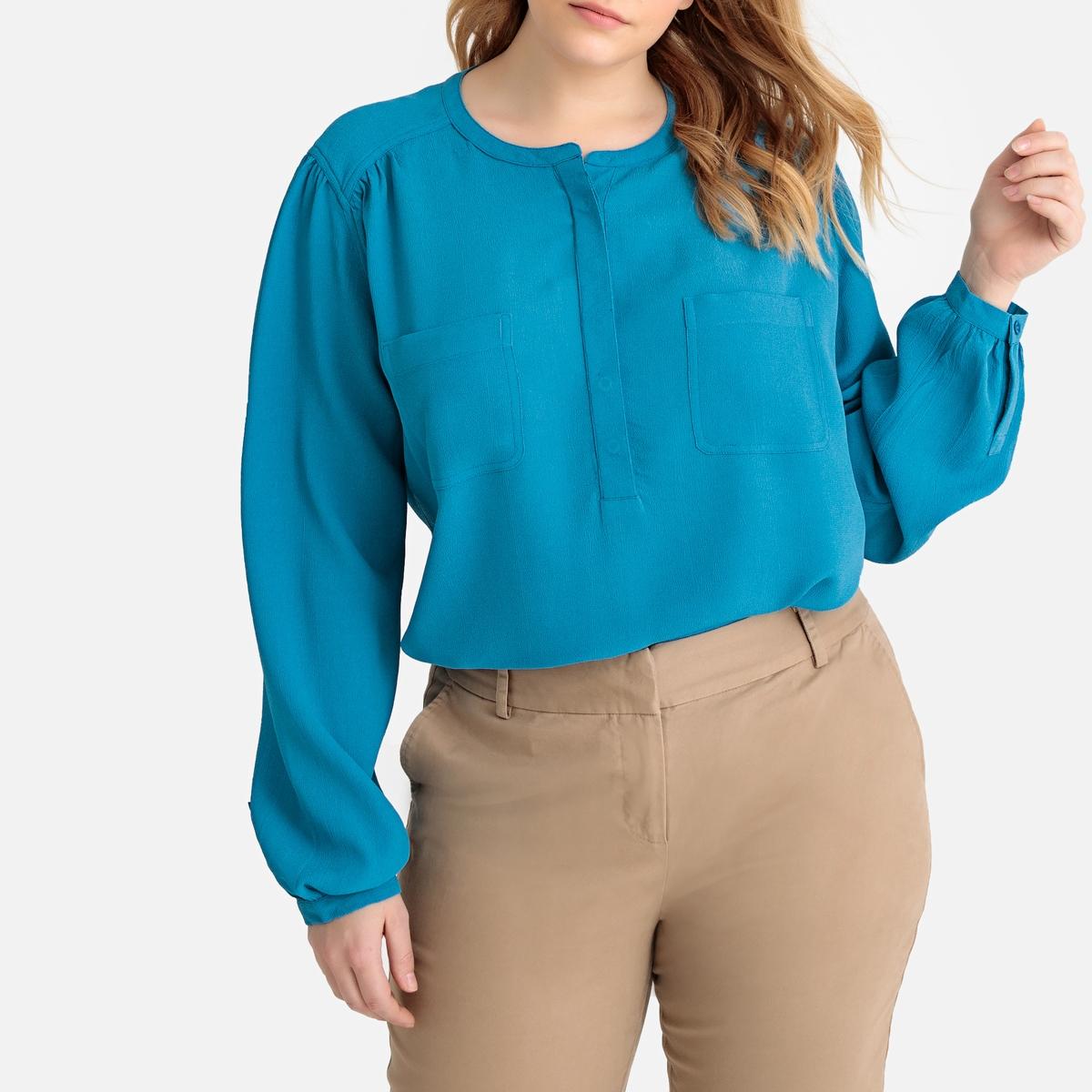 Блузка La Redoute С отложным воротником накладными карманами и длинными рукавами 46 (FR) - 52 (RUS) синий пиджак с отложным воротником b young