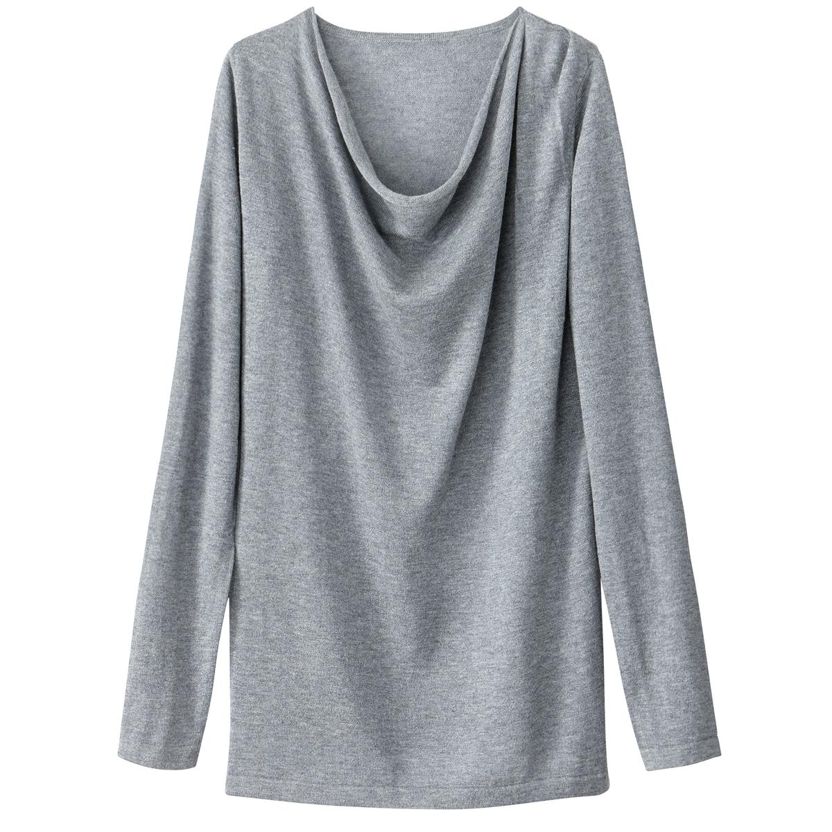 Camisola com decote drapeado, lã