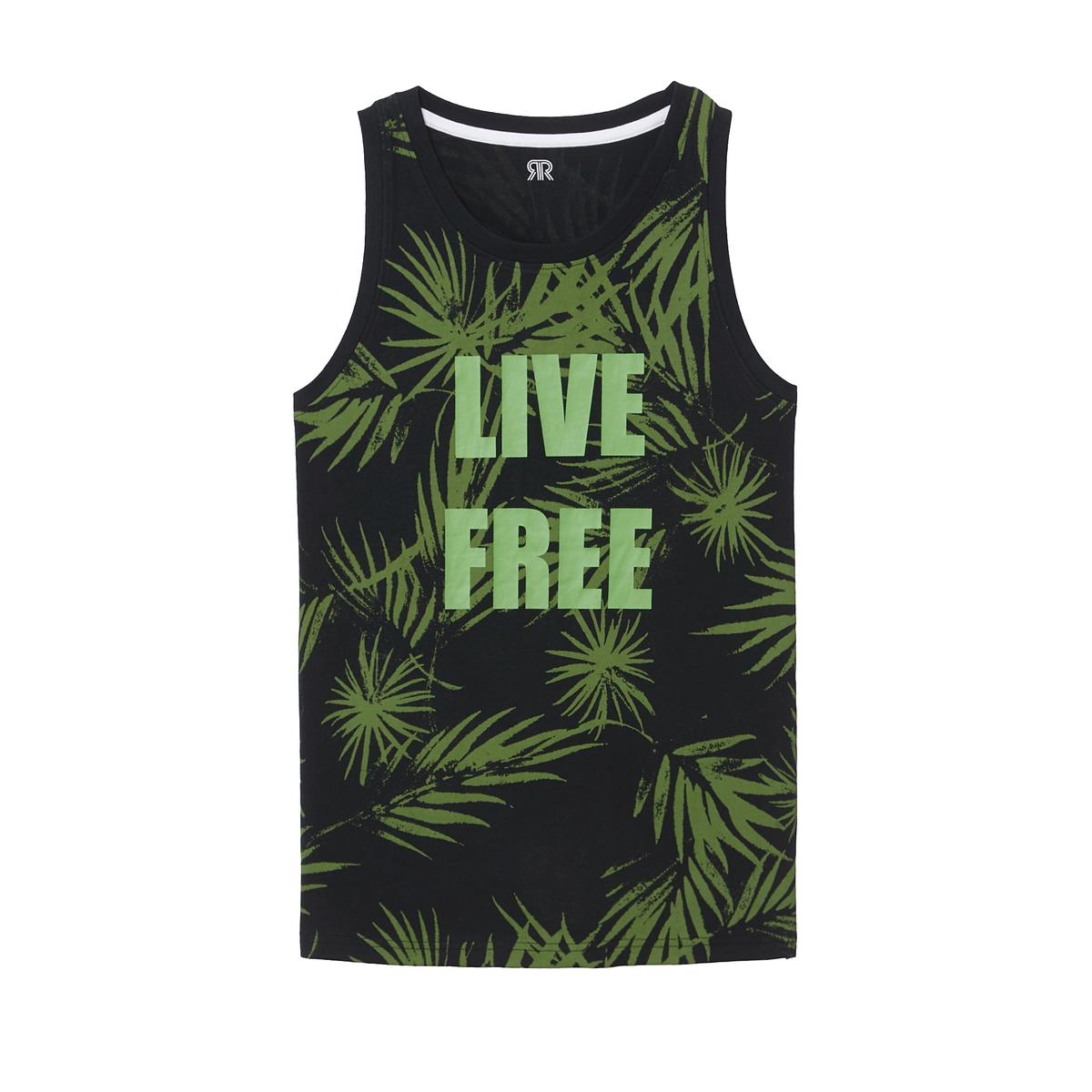 Camiseta sin mangas con estampado de palmeras