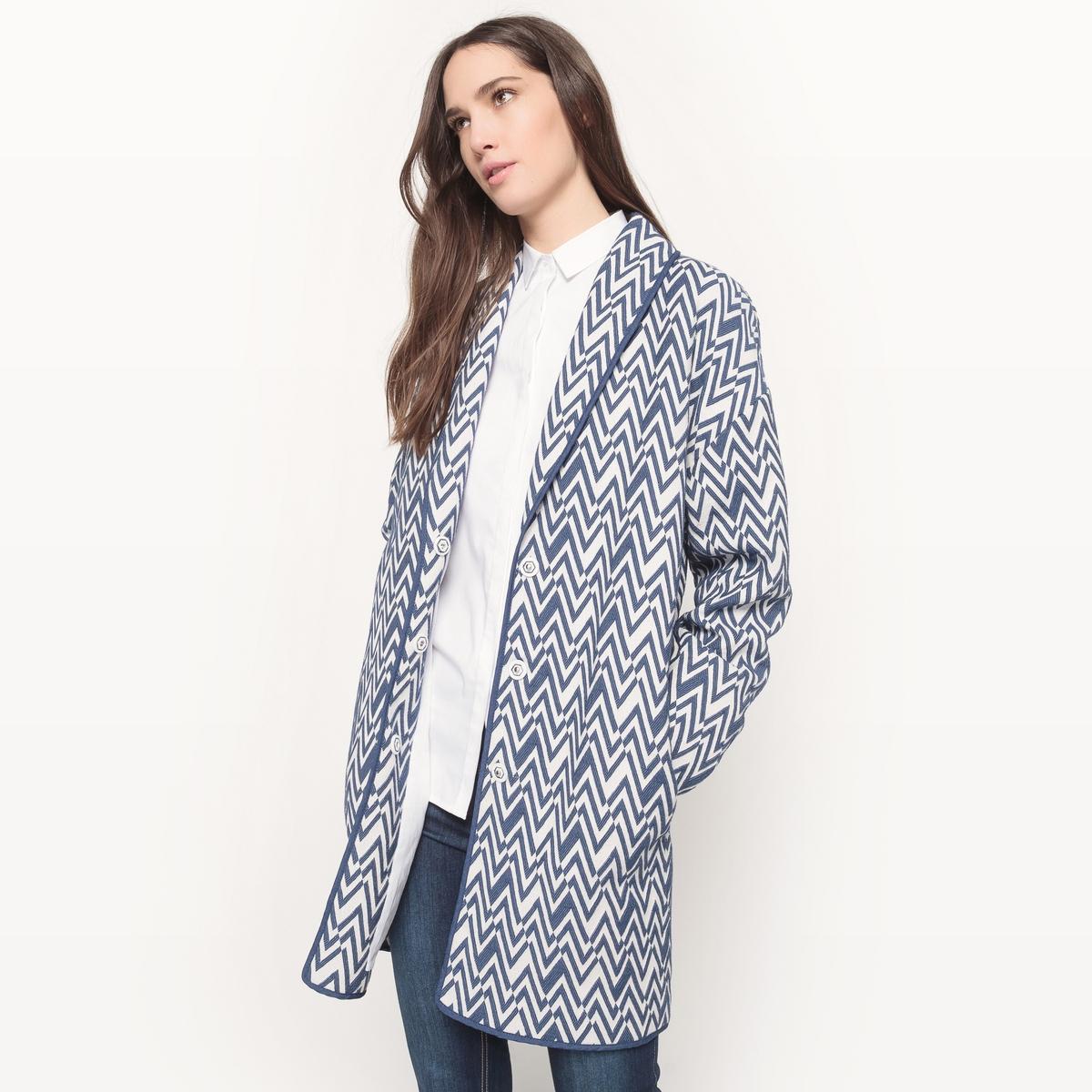 Пальто средней длины с жаккардовым рисунком