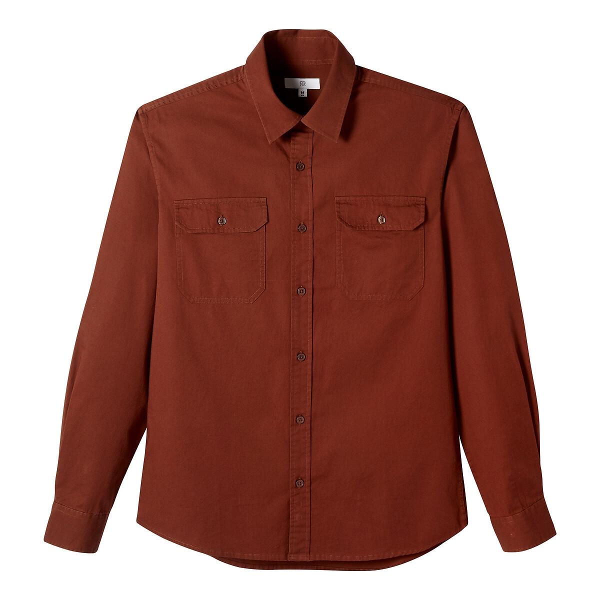 Camisa direita, bolsos no peito, mangas compridas