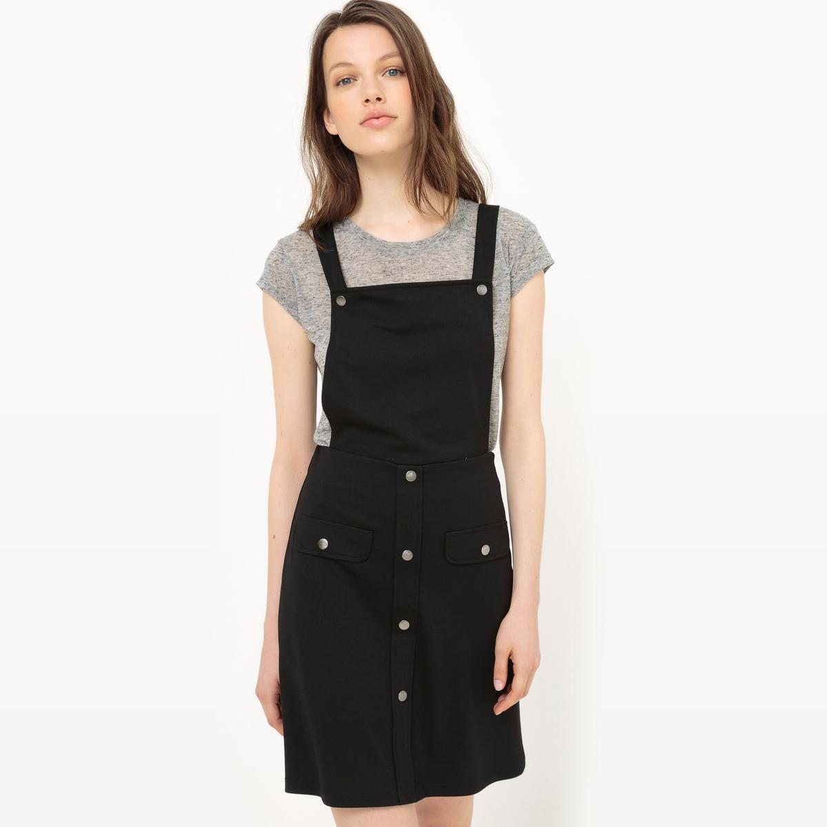 Платье-сарафанМатериал : 30% вискозы, 5% эластана, 65% полиэстера   Длина рукава : тонкие бретели   Форма воротника : без воротника  Покрой платья : платье прямого покроя     Рисунок : однотонная модель Длина платья : короткое<br><br>Цвет: черный<br>Размер: L.S