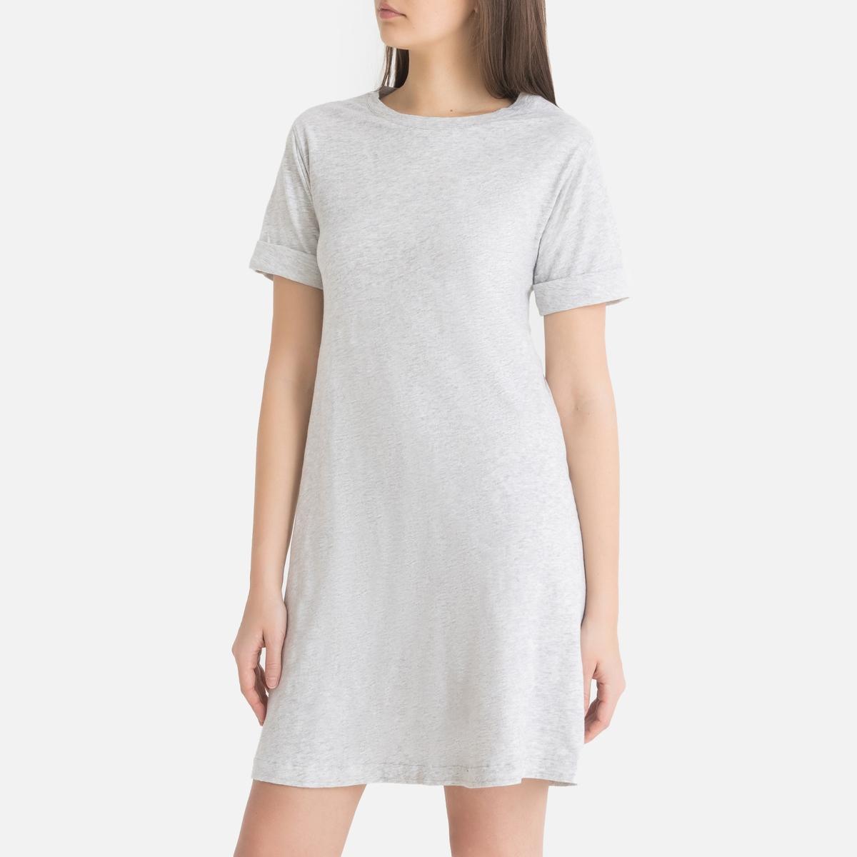 цена Платье-футболка La Redoute С короткими рукавами BYSAPICK M серый