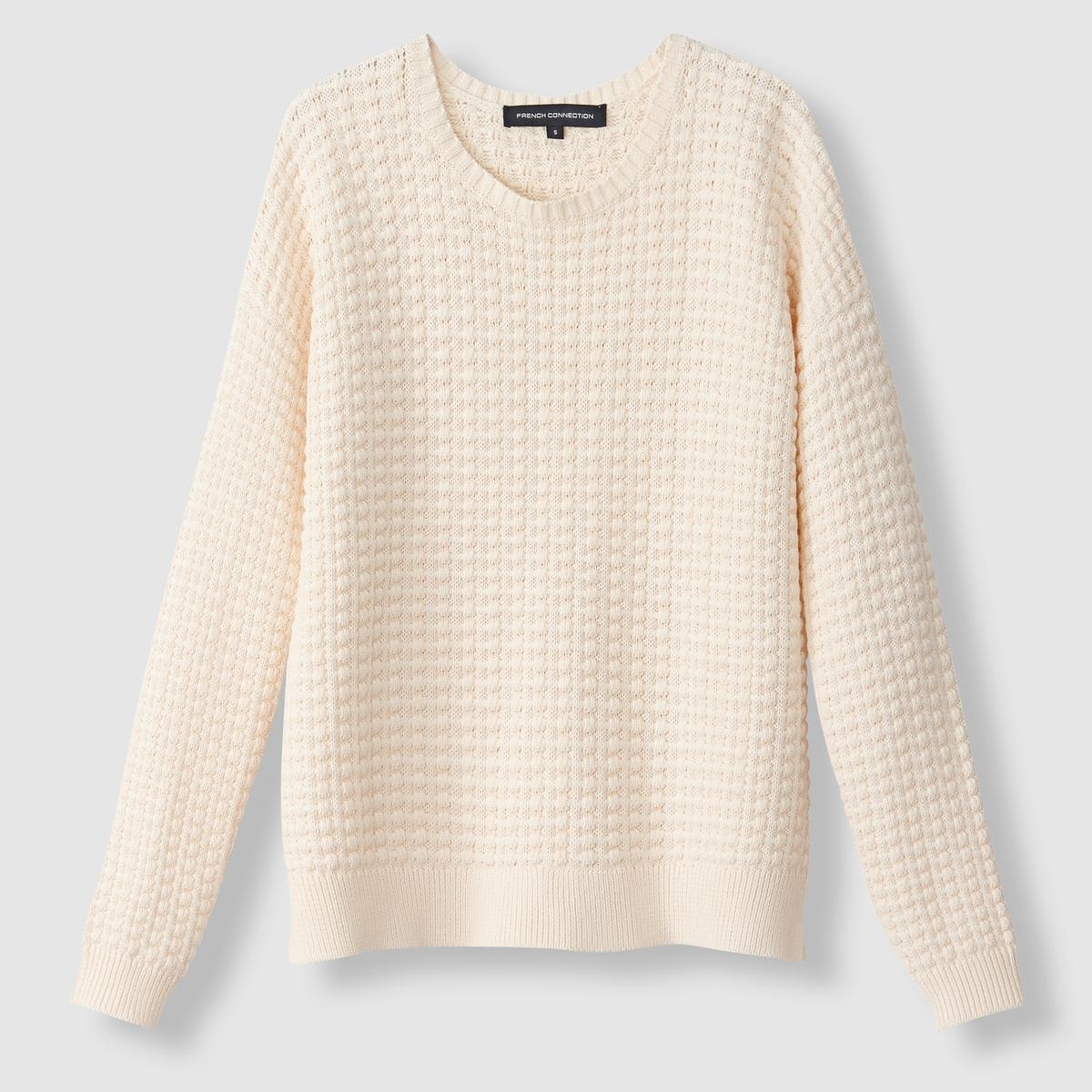 Пуловер хлопковый, вязаный трикотажСостав и описание : Материал : 100% хлопка.Марка : French Connection<br><br>Цвет: кремовый<br>Размер: S.M