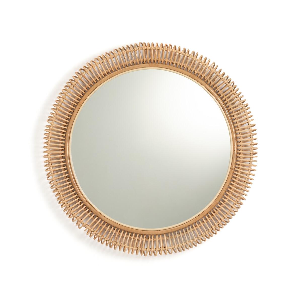 Фото - Зеркало LaRedoute Из ротанга диаметр 100 см Tarsile единый размер бежевый вешалка laredoute из ротанга doka единый размер бежевый