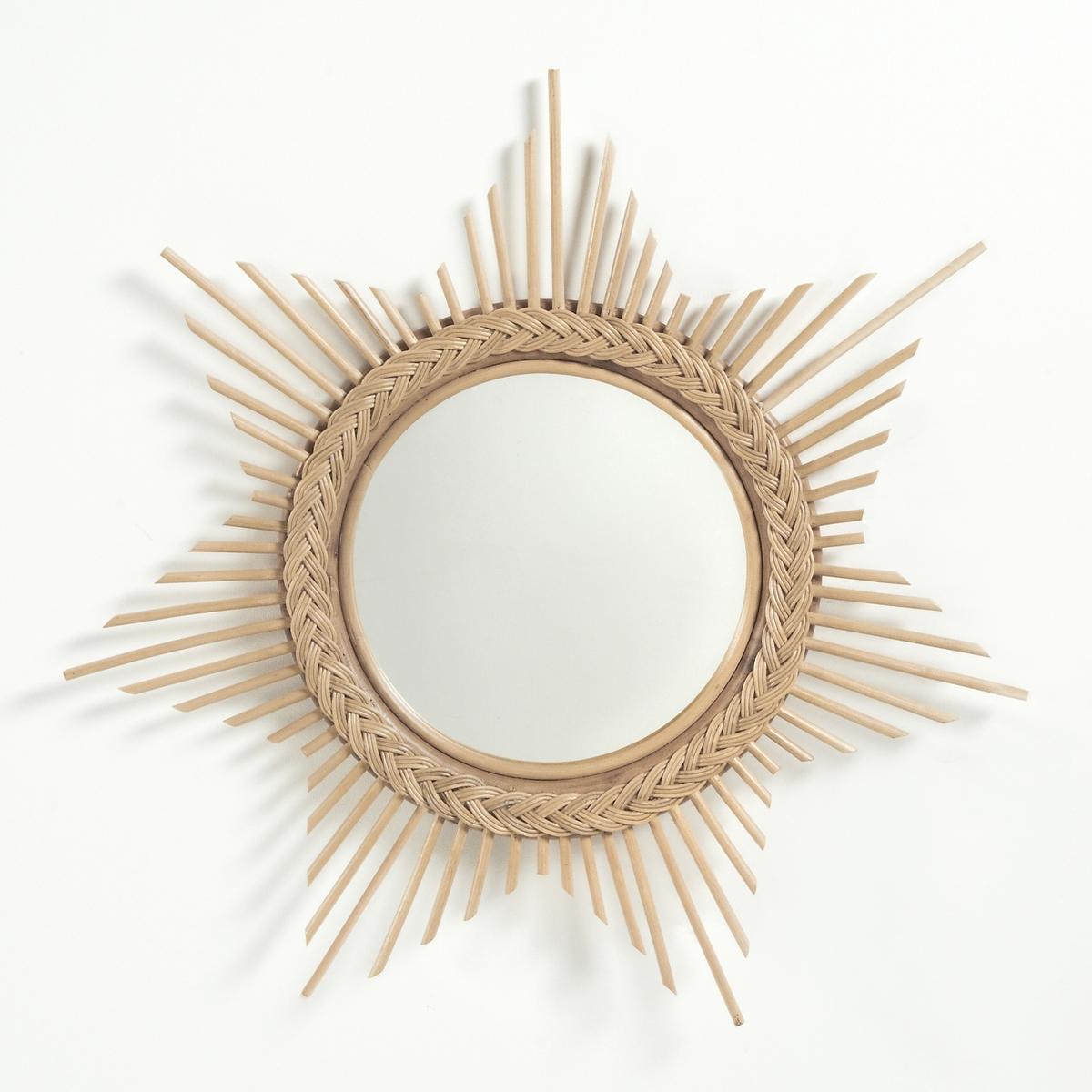 Зеркало в форме солнца из ротанга