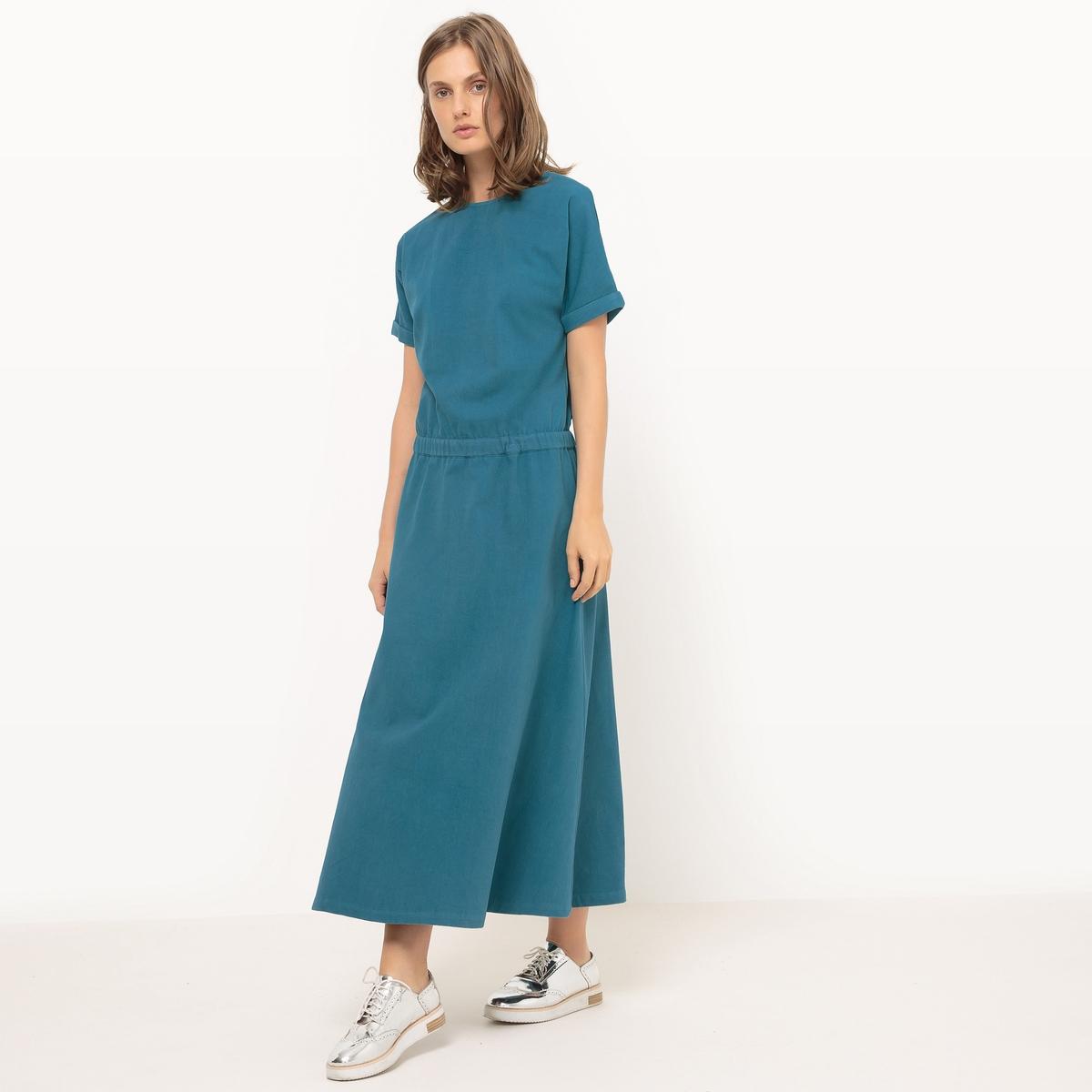 Платье длинное с эластичным поясом