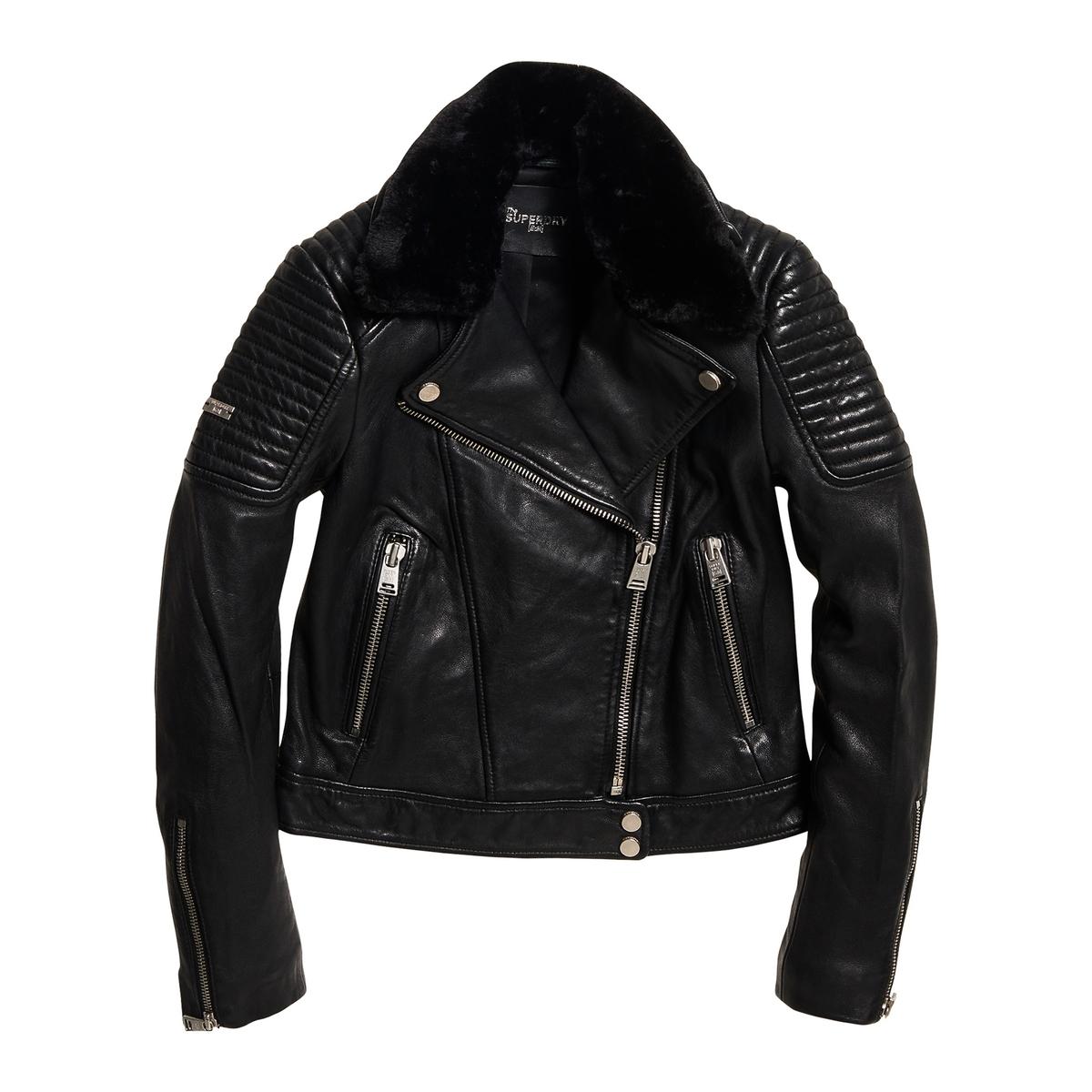 Chaqueta de piel con cuello forrado Premium Winter Leather Biker