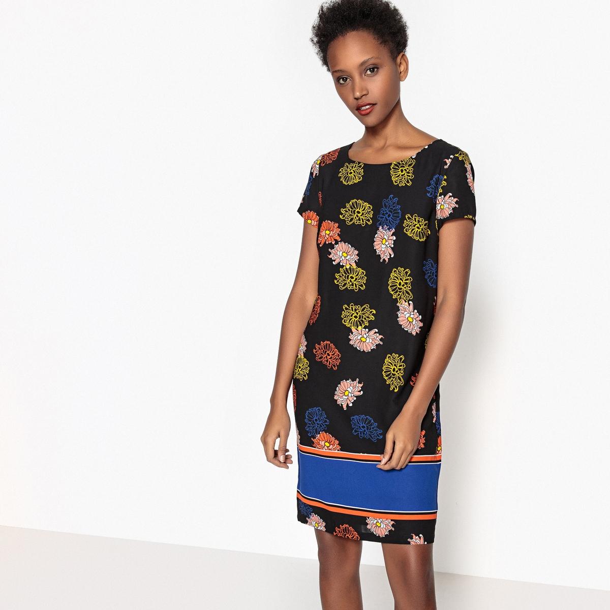 Платье-футляр с цветочным рисунком и контрастными полосами платье футляр с цветочным рисунком