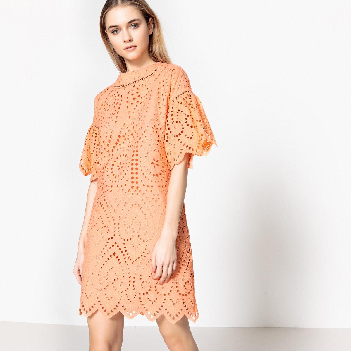 Платье La Redoute Прямое с оригинальной английской вышивкой 38 (FR) - 44 (RUS) оранжевый брюки la redoute с высокой талией из лиоцелла 38 fr 44 rus бежевый