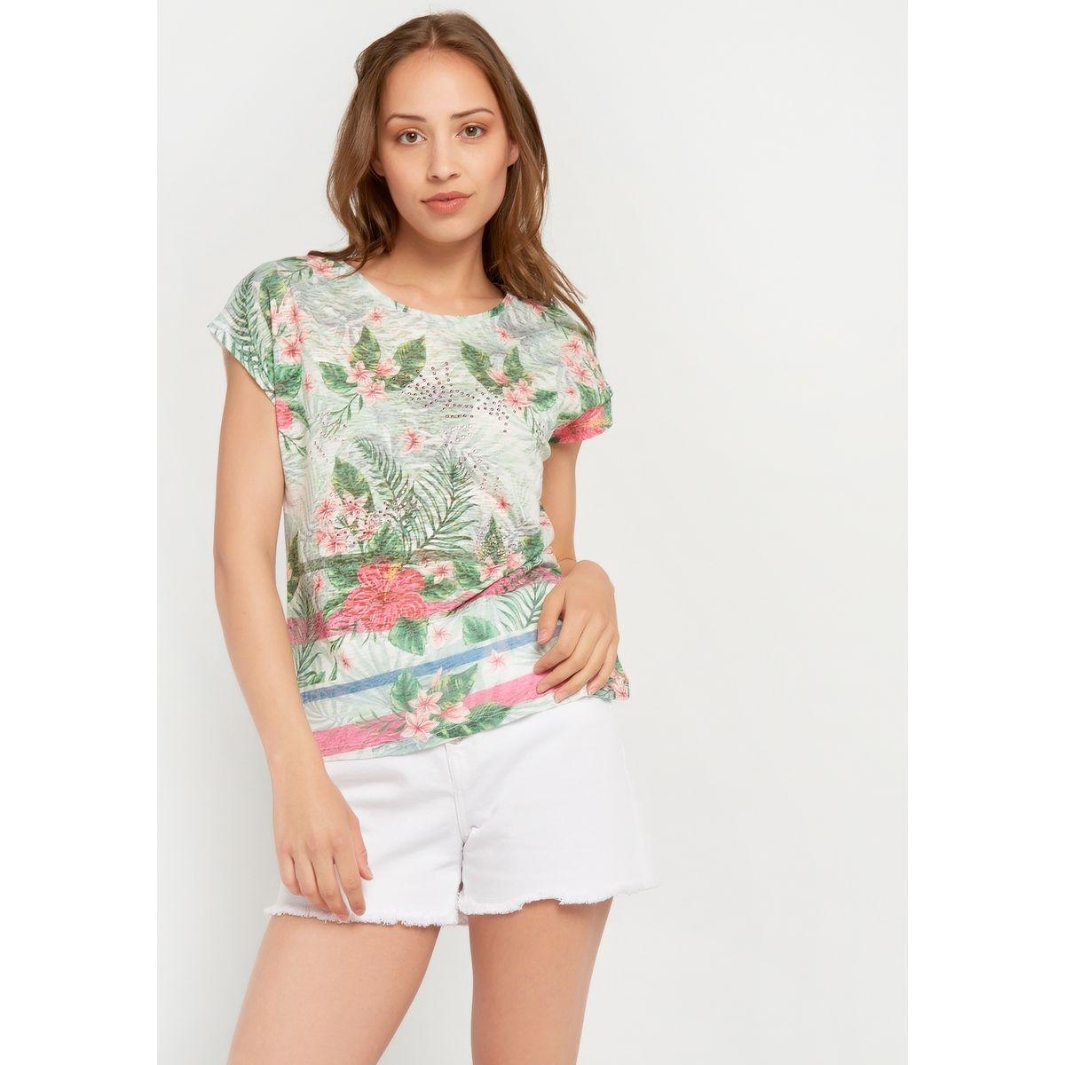 T-shirt imprimé tropical, strass