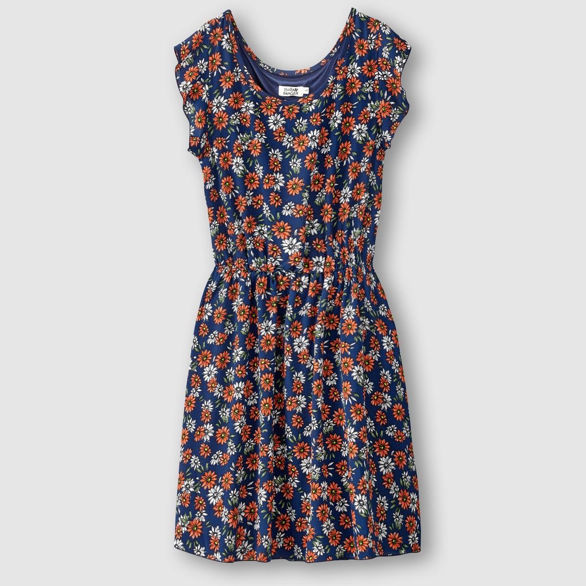 Платье с короткими рукавамиПлатье - MOLLY BRACKEN. Короткие рукава. Эластичный пояс. Вуаль с принтом .Состав и описание      Материал: 100% полиэстера     Марка MOLLY BRACKEN<br><br>Цвет: темно-синий/оранжевый<br>Размер: S