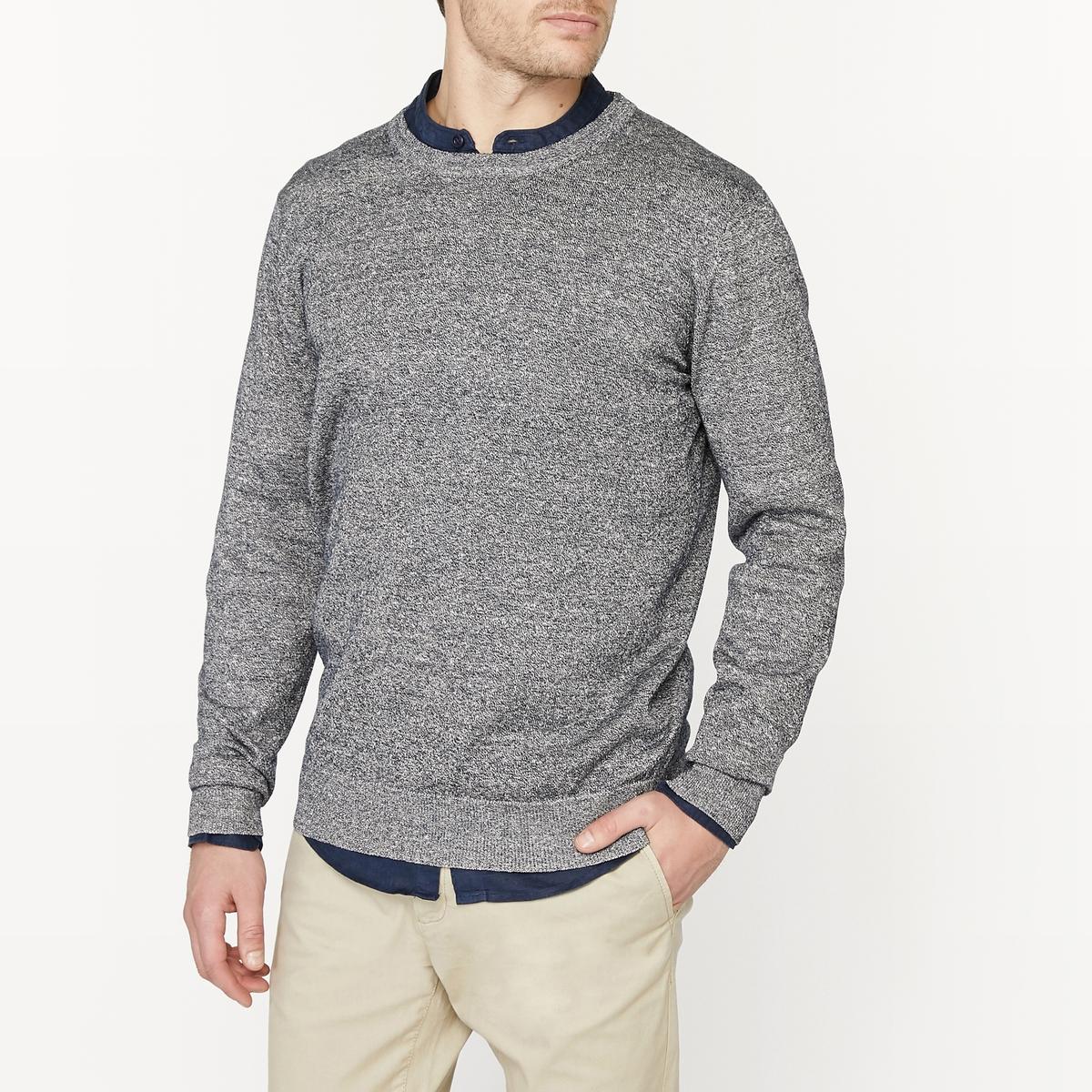 Пуловер с круглым вырезом из смесовой ткани из льна пуловер с круглым вырезом из хлопка и льна