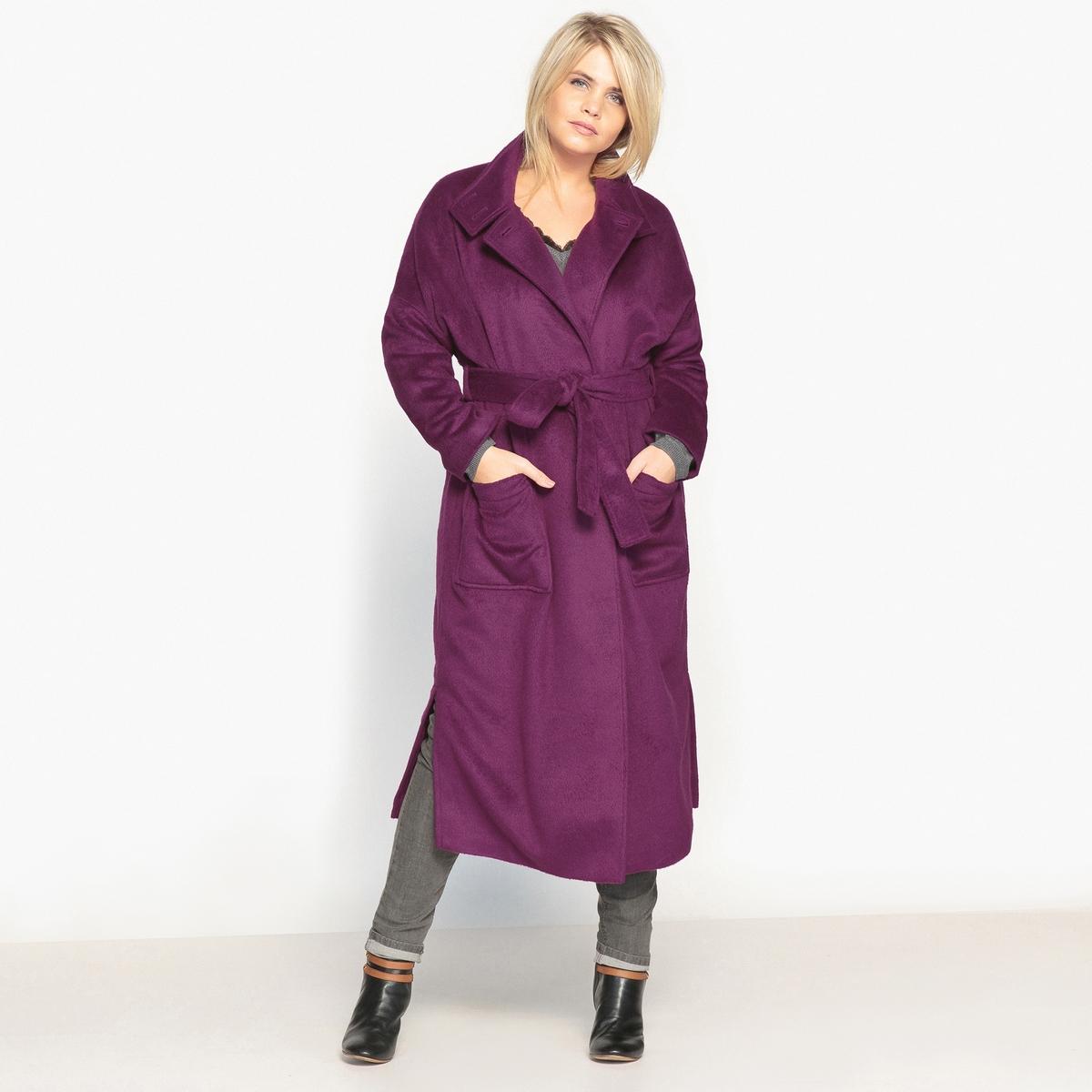 ПальтоОписание:Красивое и стильное длинное пальто с поясом. Очень изящное длинное пальто отлично дополнит Ваш зимний гардероб. Подарите себе это пальто!Детали •  Длина : удлиненная модель •  Воротник-стойка • Застежка на пуговицыСостав и уход •  15% вискозы, 85% полиэстера •  Подкладка : 100% полиэстер • Не стирать •  Деликатная сухая чистка / не отбеливать •  Не использовать барабанную сушку  •  Низкая температура глажки Товар из коллекции больших размеров •  Застежка на кнопки. •  Воротник на пуговицах. •  Разрезы сбоку. •  2 накладных кармана. •  Длина : 122,7 см<br><br>Цвет: фиолетовый<br>Размер: 42 (FR) - 48 (RUS).54 (FR) - 60 (RUS).52 (FR) - 58 (RUS).50 (FR) - 56 (RUS).48 (FR) - 54 (RUS).46 (FR) - 52 (RUS).56 (FR) - 62 (RUS)