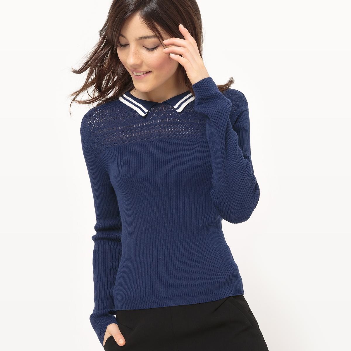 Пуловер с воротником поло из хлопка