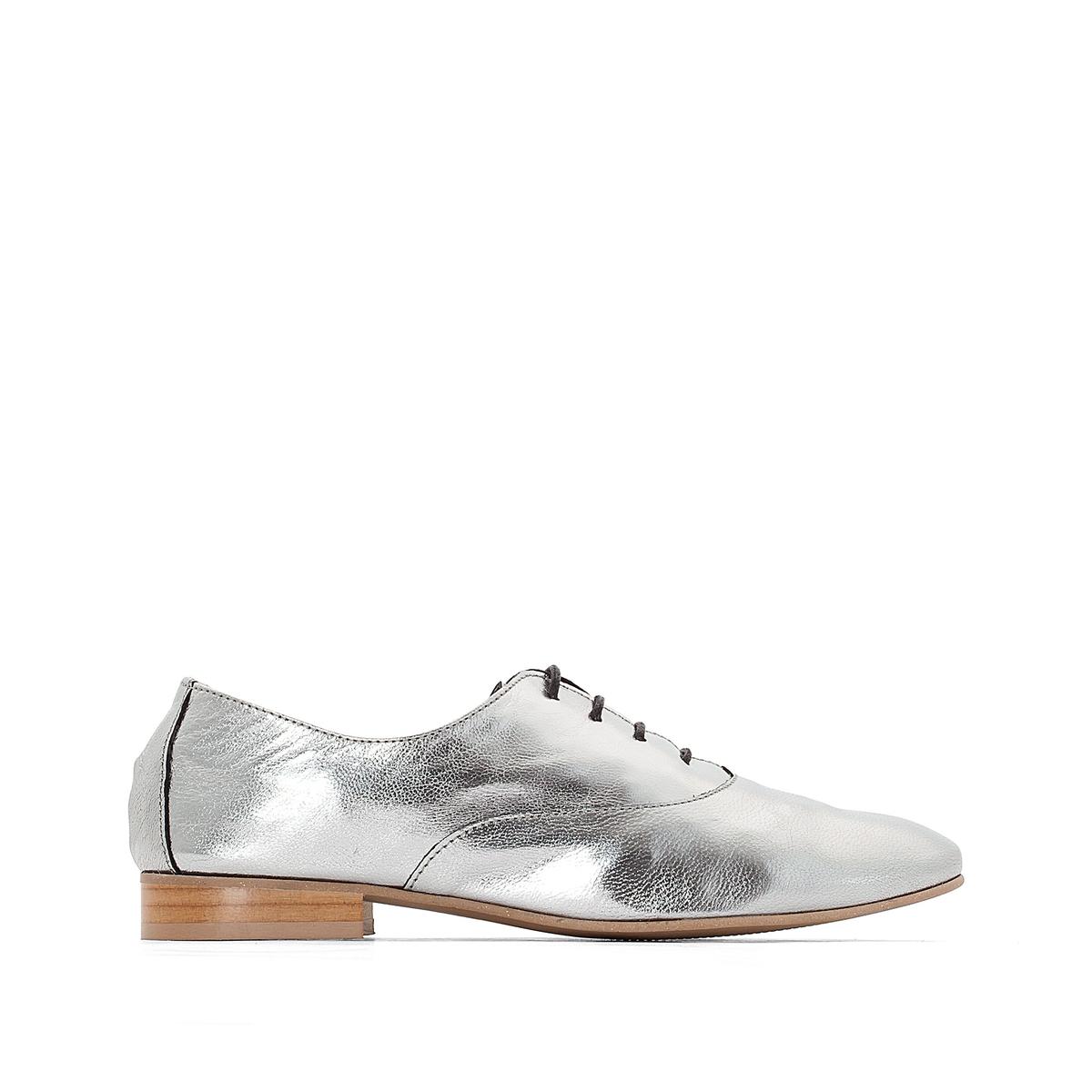 Ботинки-дерби из кожи с металлическим блеском