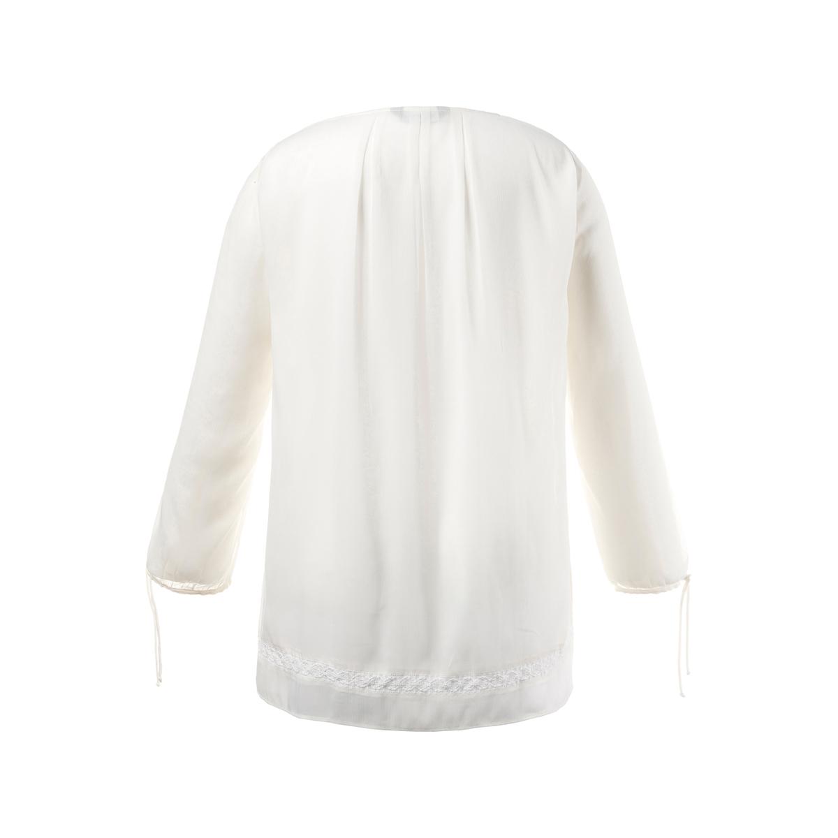 БлузкаБлузка - ULLA POPKEN. 100% полиэстер. Блузка из вуали с тонкой текстурой, на непрозрачной основе и с топом из джерси . Кружевная вставка спереди и снизу . Свободный покрой, рукава с завязками снизу . Длина в зависимости от размера ок. 74 - 84 см .<br><br>Цвет: экрю<br>Размер: 44/46 (FR) - 50/52 (RUS).52/54 (FR) - 58/60 (RUS)