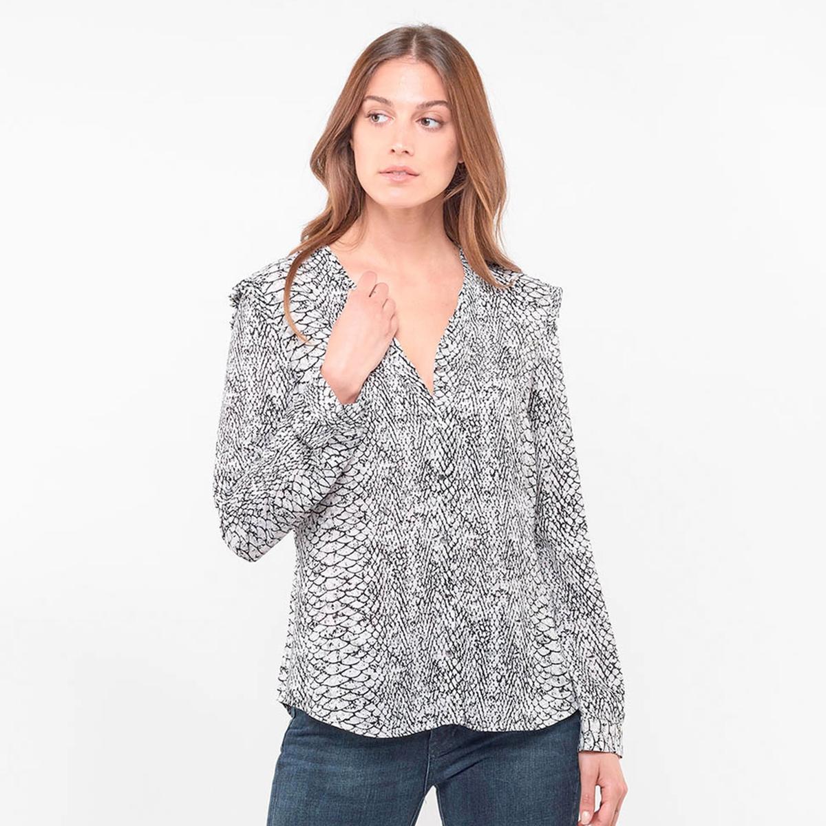 цена Блузка La Redoute С V-образным вырезом и графическим рисунком L зеленый онлайн в 2017 году