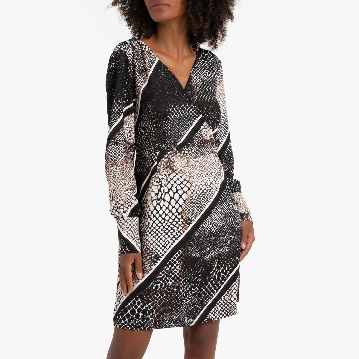 цена Платье La Redoute Прямое с V-образным вырезом и анималистичным рисунком S черный онлайн в 2017 году