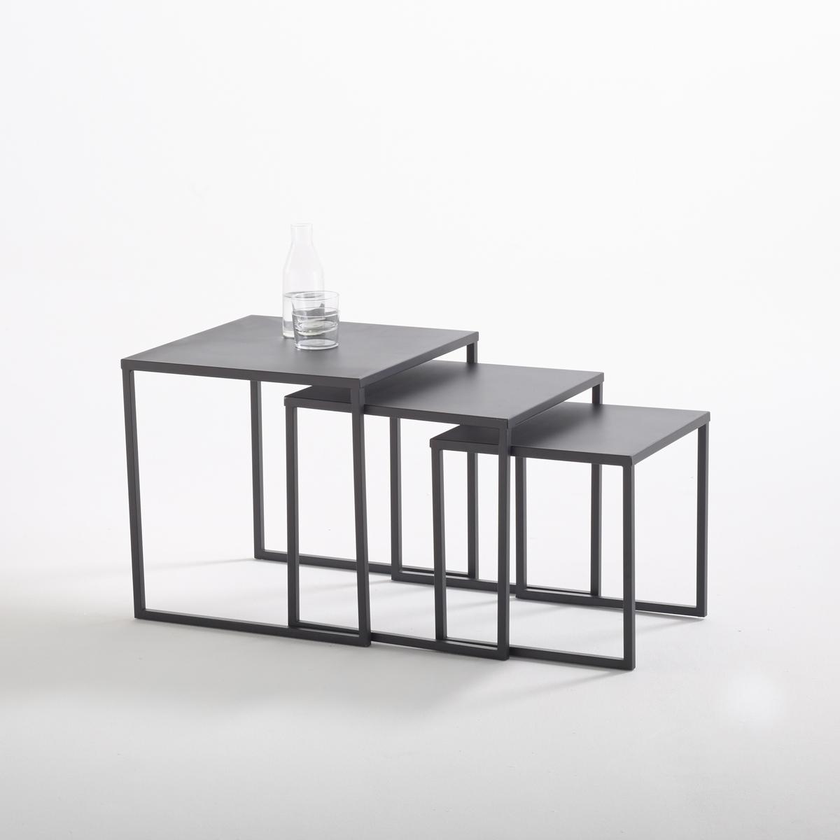 Confezione da 3 tavolini impilabili in acciaio, Hiba