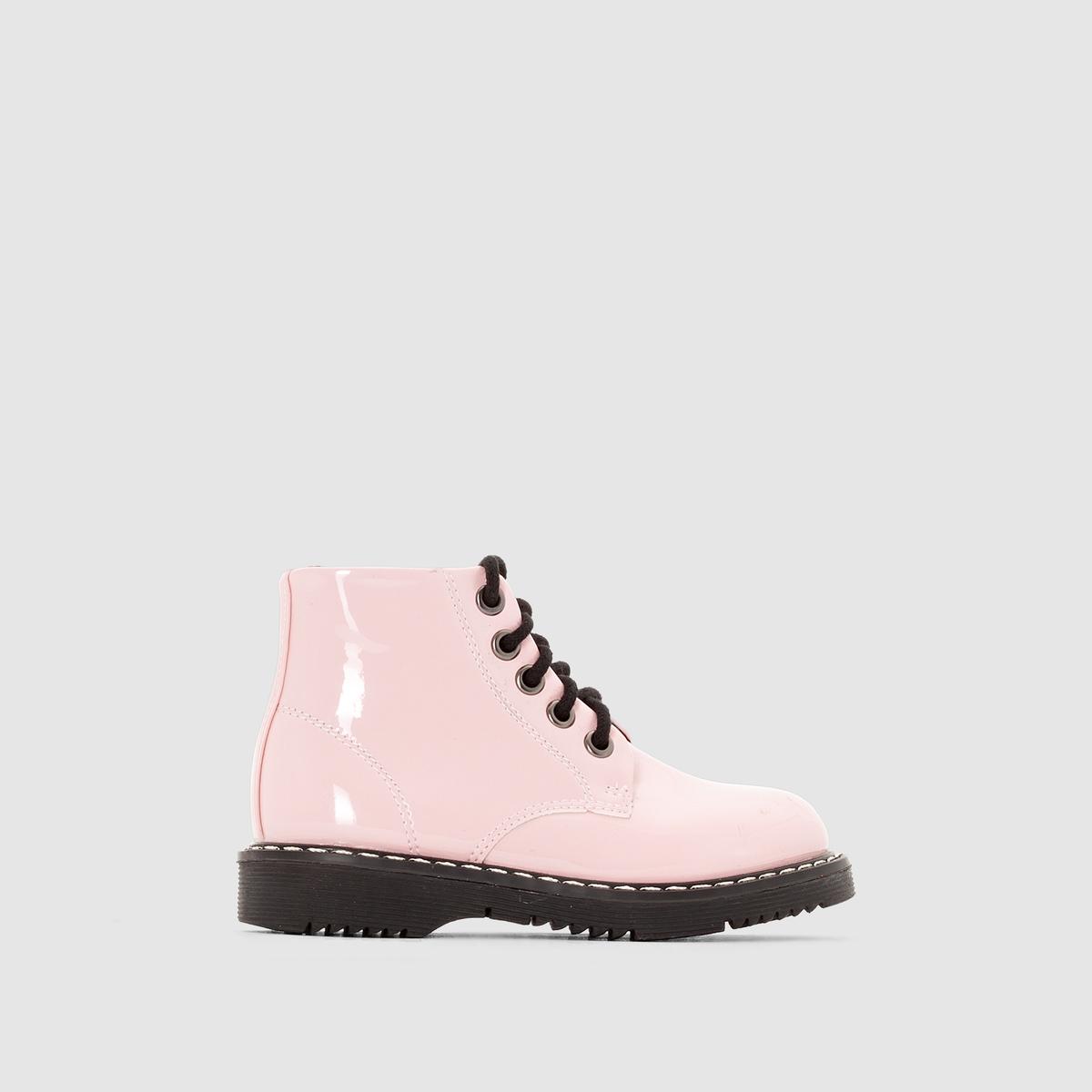 Лакированные ботинки на молнии и шнуровке