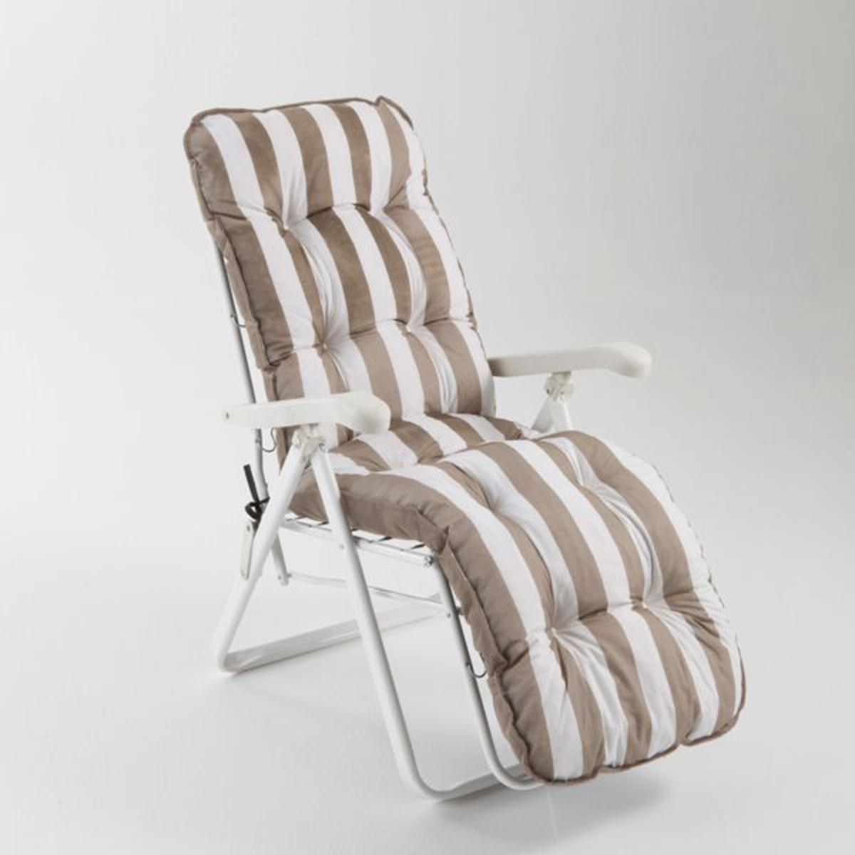 Кресло для отдыха садовое, складноеСкладное кресло для отдыха. Комфортное и эстетичное большое кресло с несколькими положениями обеспечивает приятный комфорт во время послеобеденного отдыха...Балансирные ножки продаются отдельно на нашем сайте. качество VALEUR S?RE.Характеристики :- Каркас из металлических трубок, покрытых эпоксидной краской (диаметр 4,5 см).- Обивка : лицевая сторона: 100% хлопок, оборотная сторона: 100% полиэстер.- Полиуретановый наполнитель, толщина 12 см.- Регулируется, несколько положений.Это кресло поставляется в собранном виде.Складное, легко собирать и перевозить .Общие размеры :- В положении сидя : Ш.62,5 x В.102,5 x Г.84 см- В положении лежа : Ш.140 x В.82 x Г.62,5 см.- В собранном виде : Ш.30 x В.91 x Г.62,5 см.Возможна доставка до квартиры по предварительной договоренности. Возврат или обмен в течение 2х недель.<br><br>Цвет: зеленый,серо-коричневый каштан