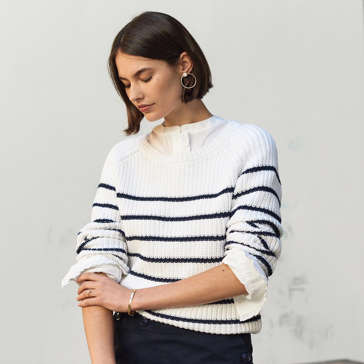 Camisola estilo marinheiro em malha grossa, algodão