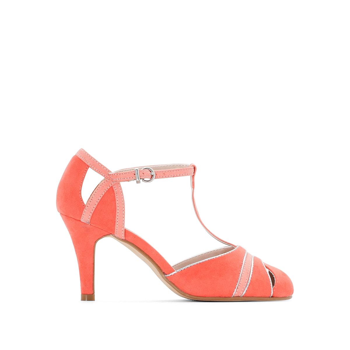 Туфли с ремешком кораллового цвета