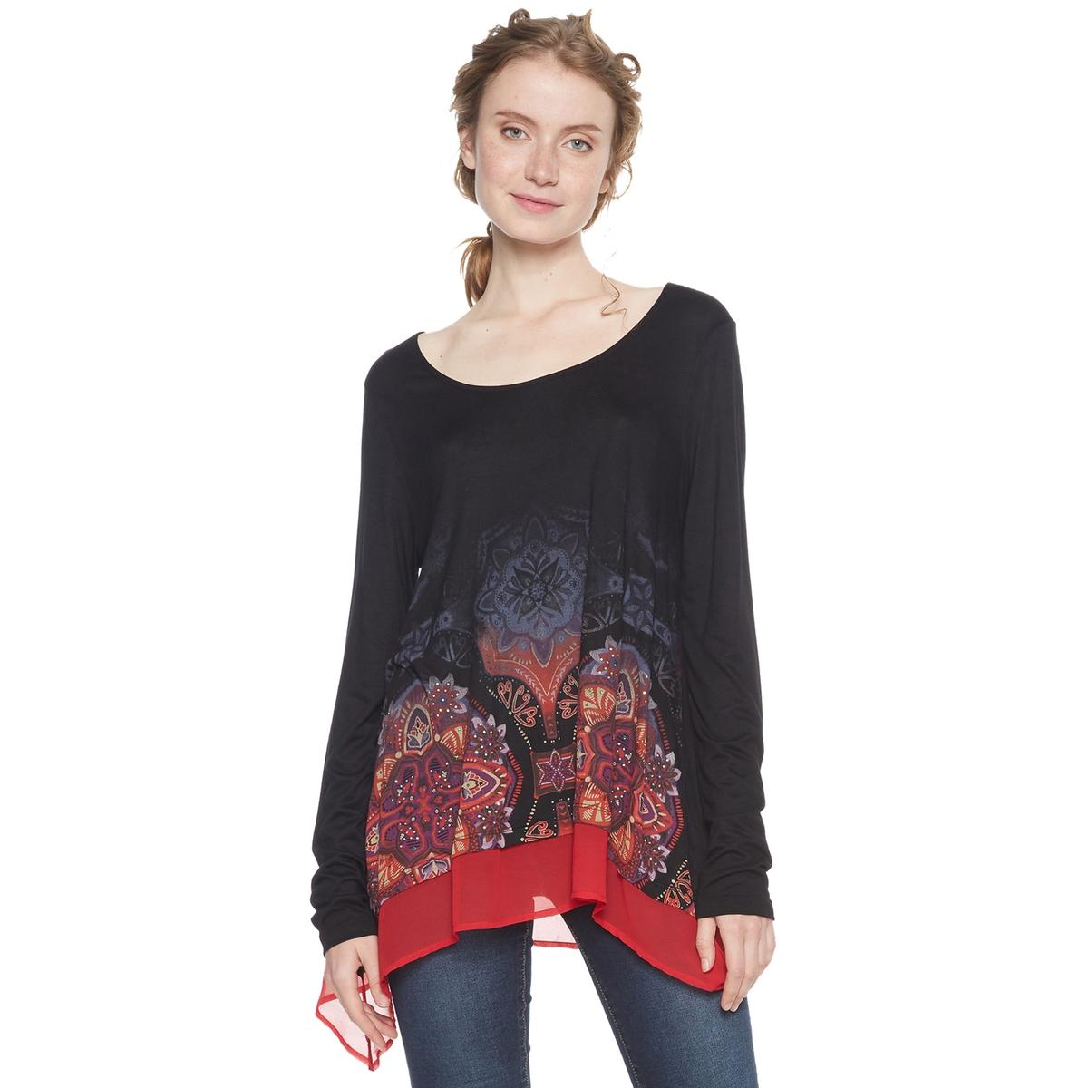 Camiseta estampada de flores, con cuello redondo y