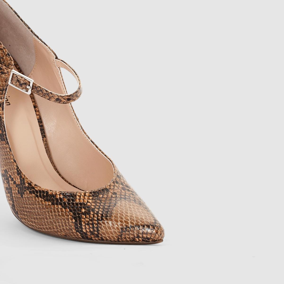 Туфли с пряжкой и рисунком под кожу питонаМарка :      R ?ditionВерх : синтетика.Подкладка : синтетика.Стелька : синтетика.Подошва : из эластомераВысота каблука : 10,5 cм  Форма каблука: тонкийМысок : заострённыйПреимущества : женственная модель и высокий каблук создадут ошеломляющий силуэтМы советуем выбирать обувь на размер больше, чем ваш обычный размер<br><br>Цвет: под питона<br>Размер: 39.40