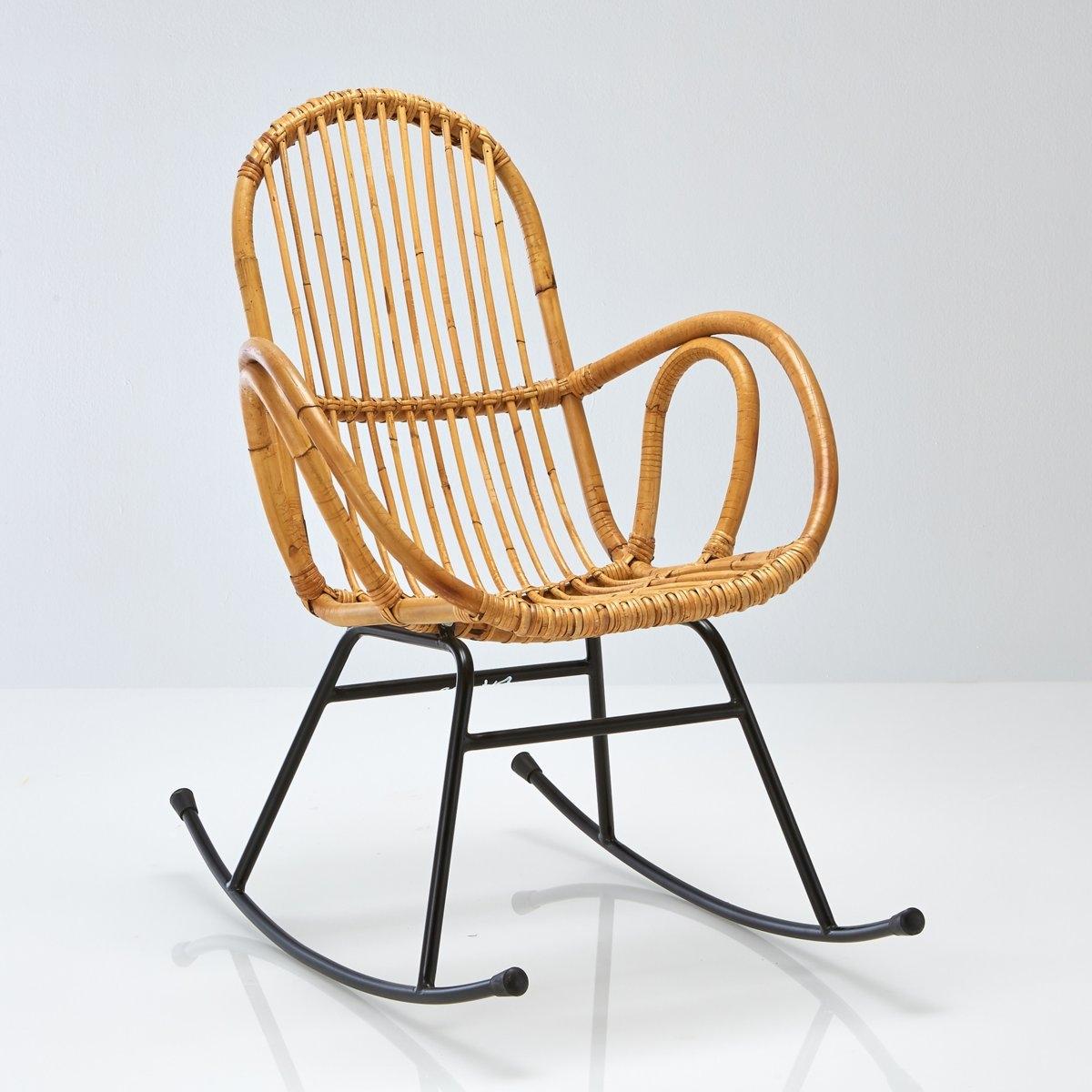 Кресло-качалка из ротанга в винтажном стиле, Siona кресло низкое и широкое в винтажном стиле из велюра с бахромой ramona