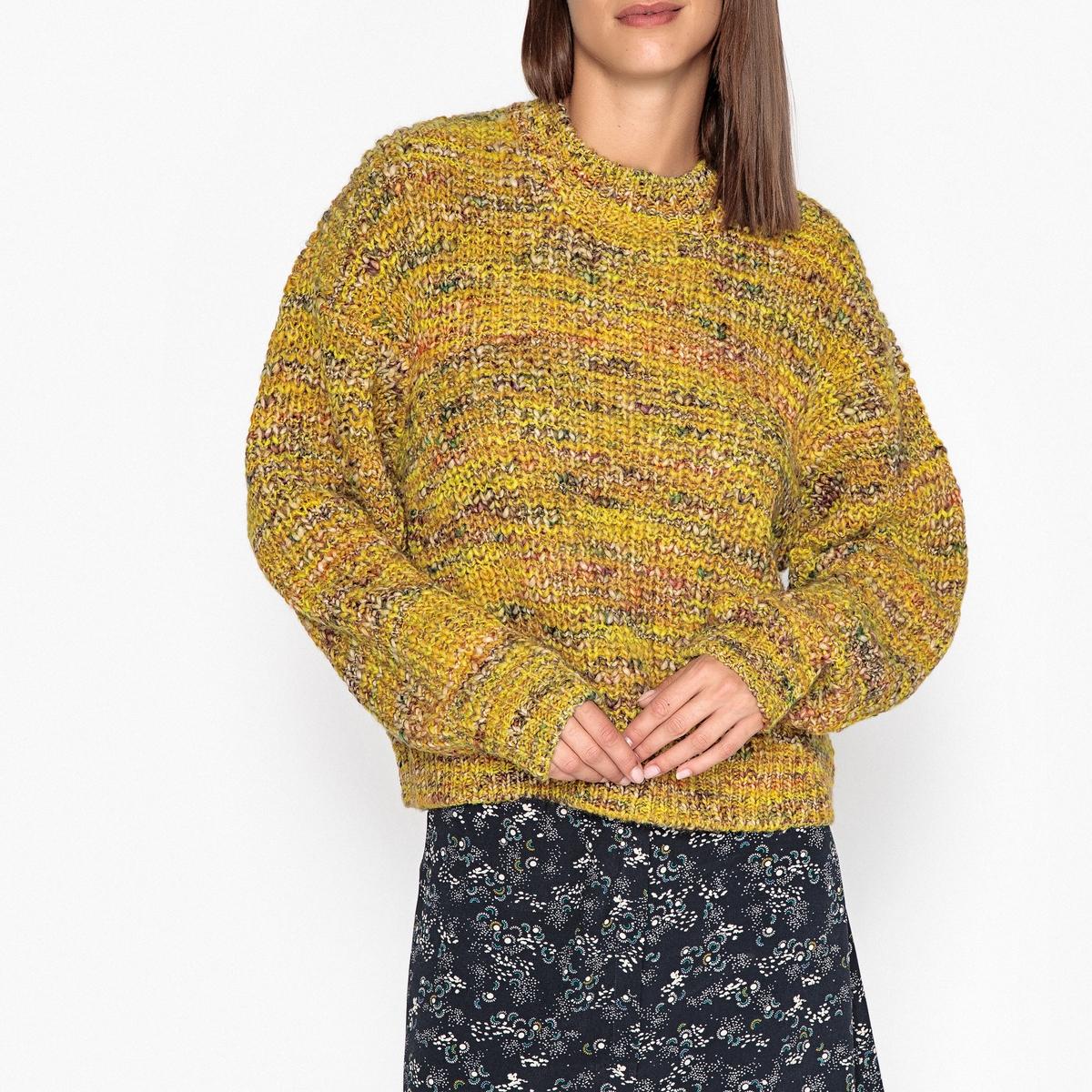 Фото - Пуловер LaRedoute Шерстяной вязаный с круглым вырезом XS желтый пуловер laredoute крупной вязки s синий