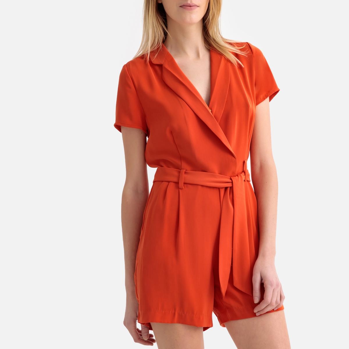 цена Комбинезон La Redoute С шортами с V-образным вырезом с запахом и короткими рукавами M оранжевый онлайн в 2017 году