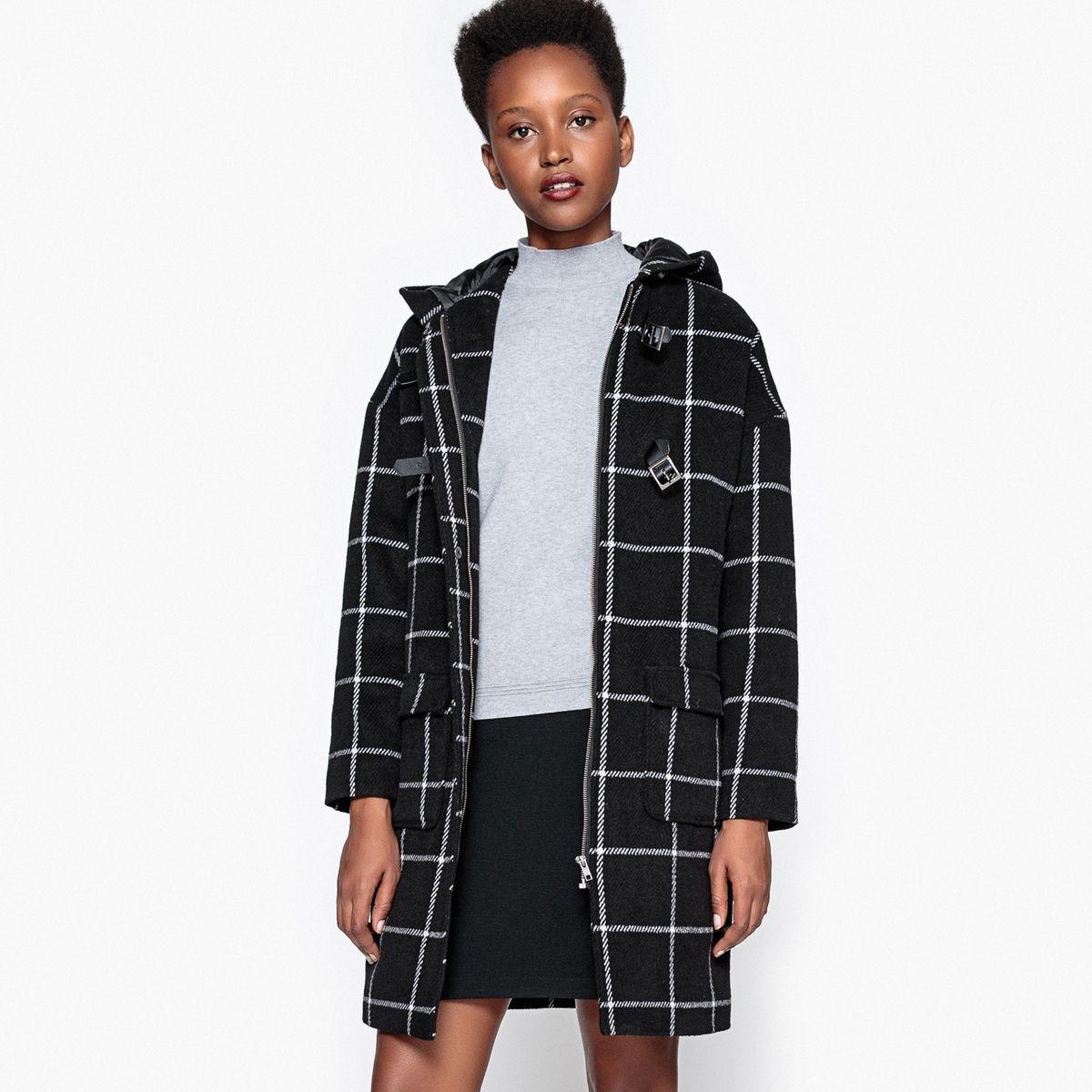 Duffle-coat à carreaux carreaux noir/blanc