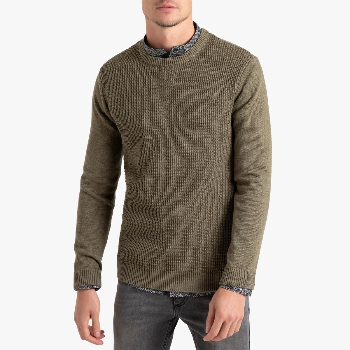 цена Пуловер La Redoute С круглым вырезом с оригинальным узором XXL зеленый онлайн в 2017 году