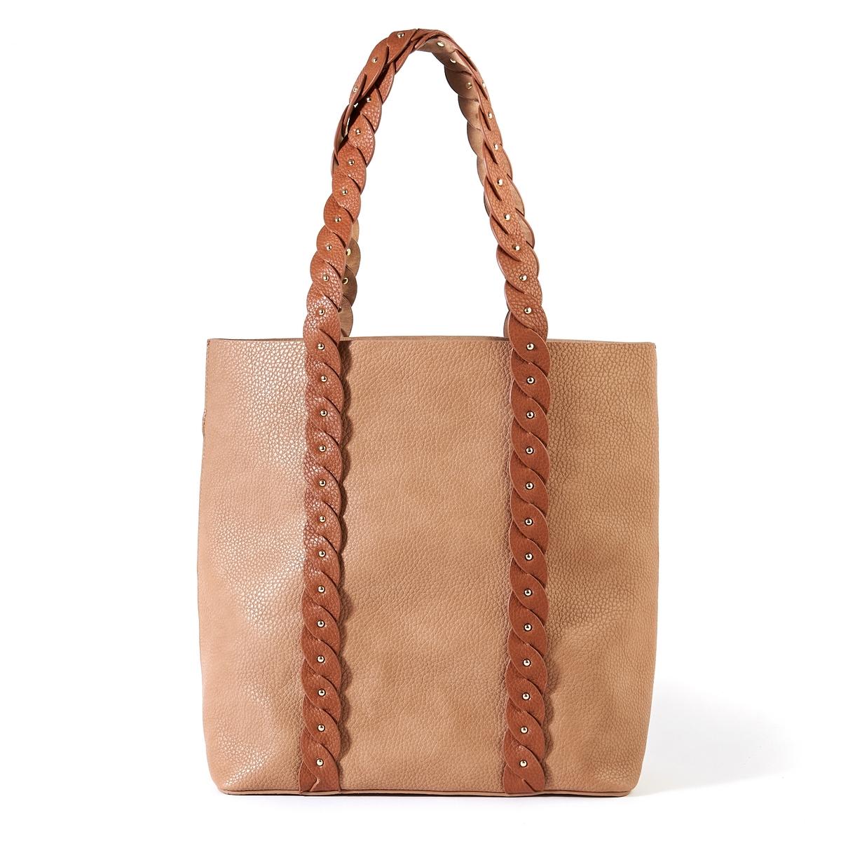 Сумка-шопперОписание:Элегантная и практичная сумка-шоппер с красивыми плетеными ручками и карманом на молнии : идеальная сумка для походов по магазинам !Состав и описание : •  Внешний материал : 100% полиуретан  •  Подкладка : 100% полиэстер •  Размер :  Д40 x В36 х 15 см •  Без застежки •  Внутренний карман : 1 карман на молнии  •  Ремешок : нерегулируемый, несъемный  •  Носить : через плечо<br><br>Цвет: бежевый,черный<br>Размер: единый размер.единый размер