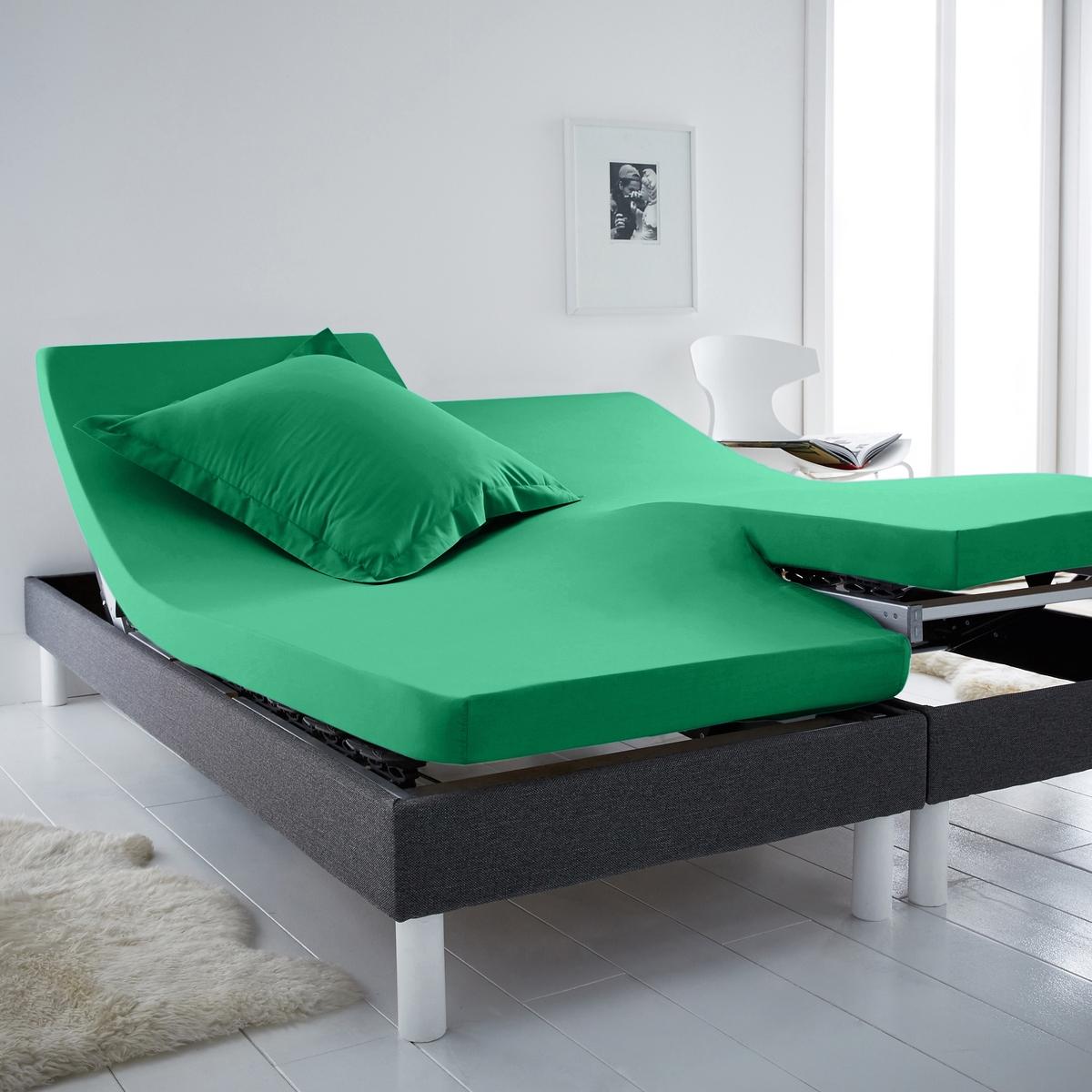 Простыня натяжная для раздельных матрасовНатяжная простыня для 2-спальной кровати с матрасами с независимыми частями для головы и ног. Для общего комфорта натяжная простыня соединяется в центре без швов.Характеристики натяжной простыни из хлопка для раздельных матрасов :100% хлопок, очень мягкий и комфортный, плотное переплетение нитей, 57 нитей/см? : чем больше количество нитей/см?, тем выше качество.Клапан 25 см (для матрасов шириной до 23 см).Отличная стойкость цвета при стирке при 60 °С.Созданная для матрасов с возможностью поднимания частей для головы и ног, эта натяжная простыня Sc?nario из хлопка отличается оригинальной гаммой очень модных цветов.                                                 Откройте для себя всю коллекцию постельного белья на сайте laredoute.ru.                                                                                                                                                                  Знак Oeko-Tex® гарантирует, что товары протестированы и сертифицированы, не содержат вредных веществ, которые могли бы нанести вред здоровью.                                                                                                                                                                                                                                            Размеры: ??140 x 190 см : 2-спальн.?160 x 200 см: 2-спальн.180 x 200 см: ?2-спальн.<br><br>Цвет: зелено-синий,изумрудный